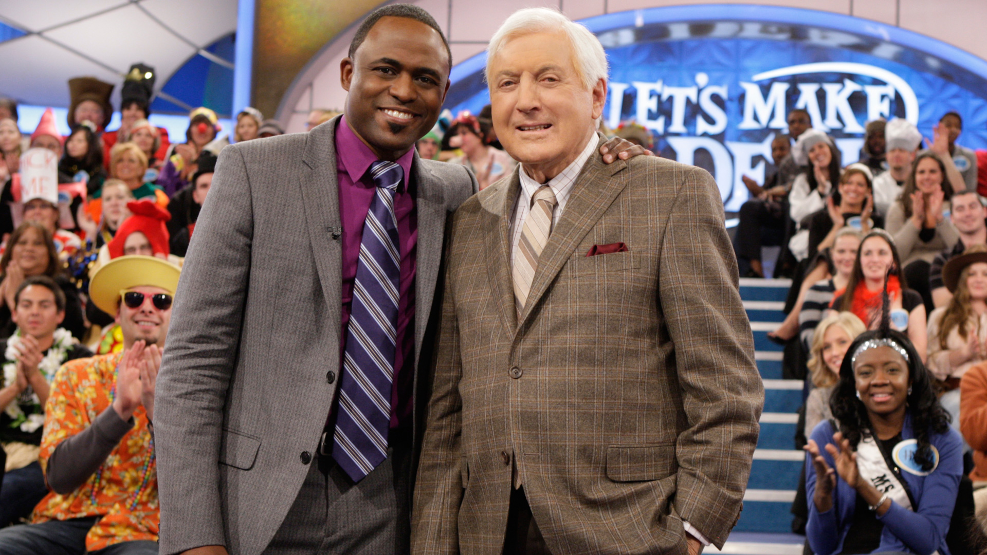 Current host Wayne Brady and Monty Hall posed together during an episode of Let's Make A Deal.
