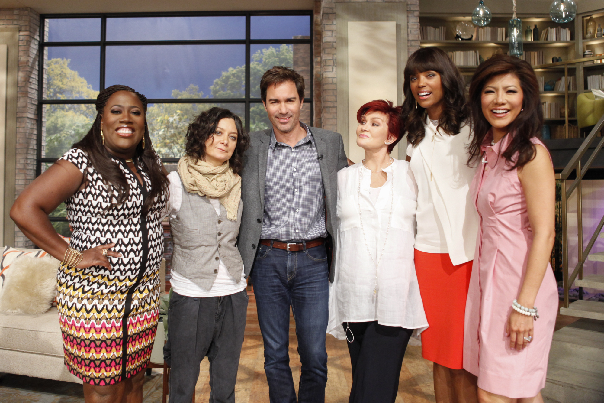 Eric McCormack with the ladies of The Talk