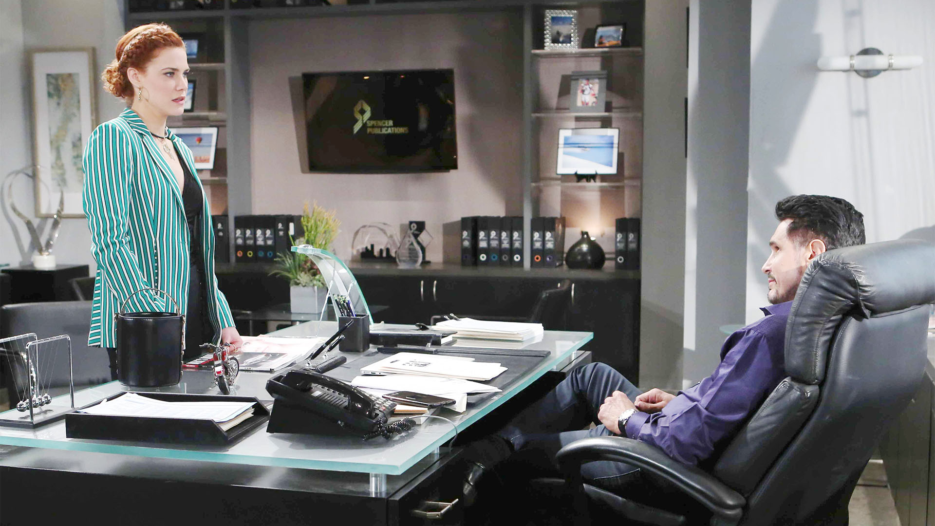Sally storms into Spencer Publications and confronts Bill about reneging on Liam's promise.