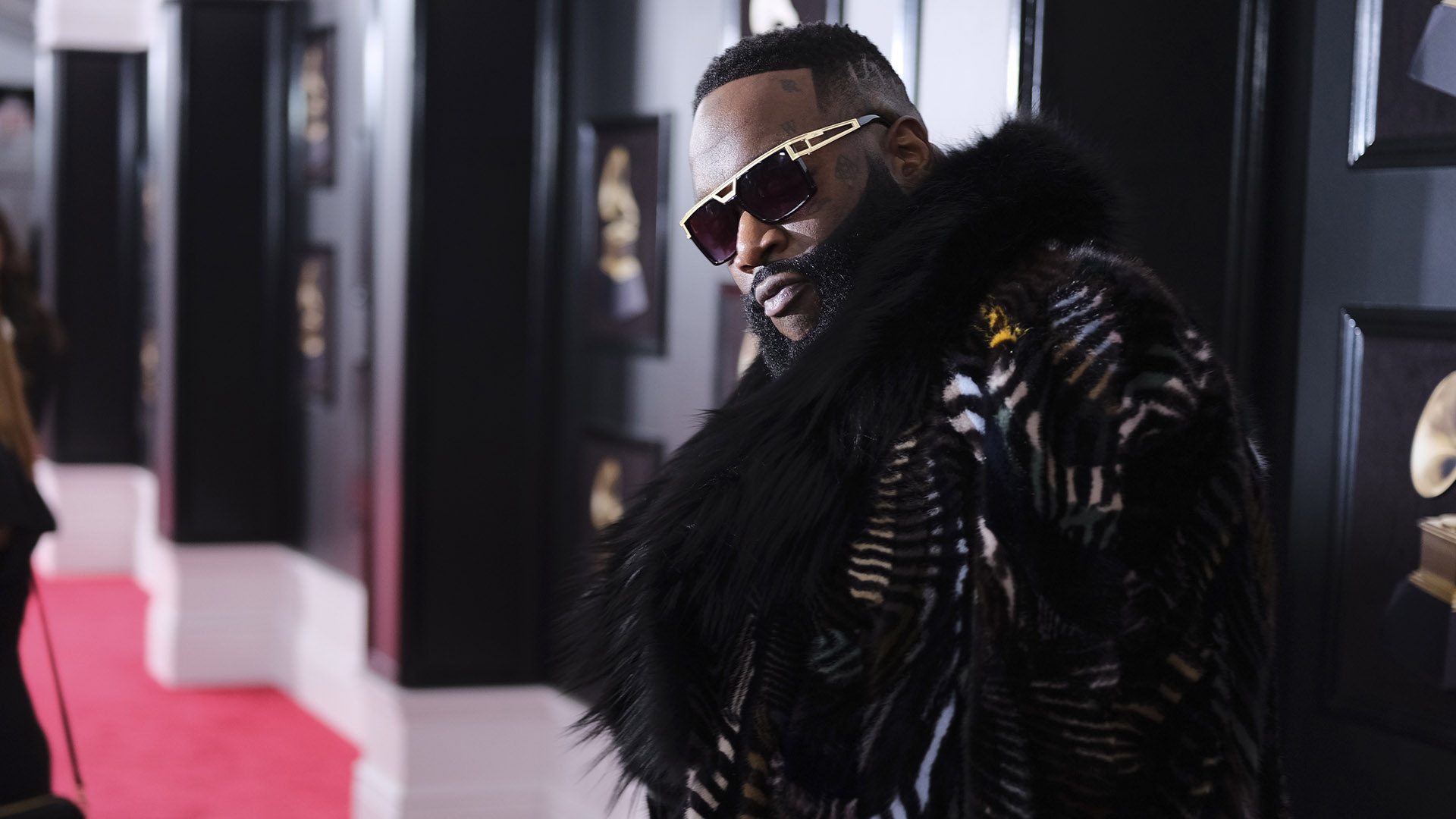 Hip-hop mogul Rick Ross is a boss on the 60th Annual GRAMMY Awards red carpet.