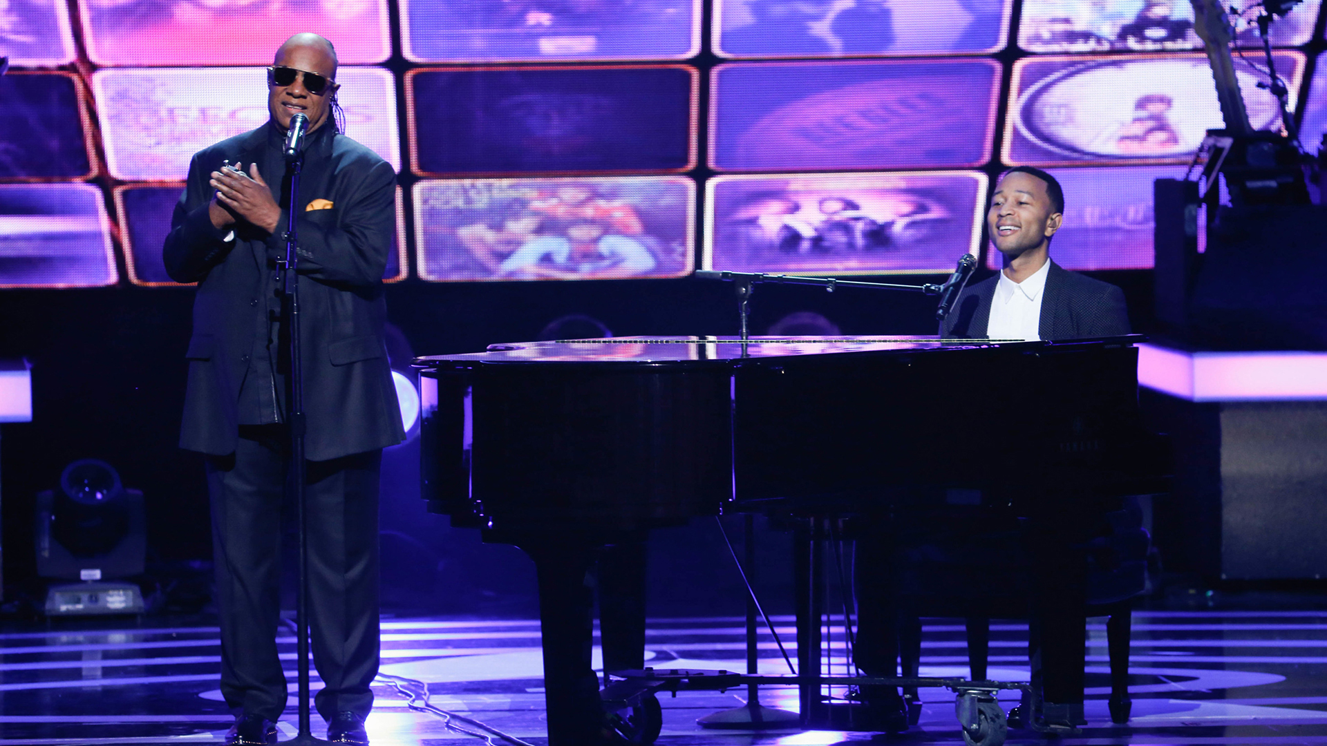 Stevie Wonder and John Legend perform