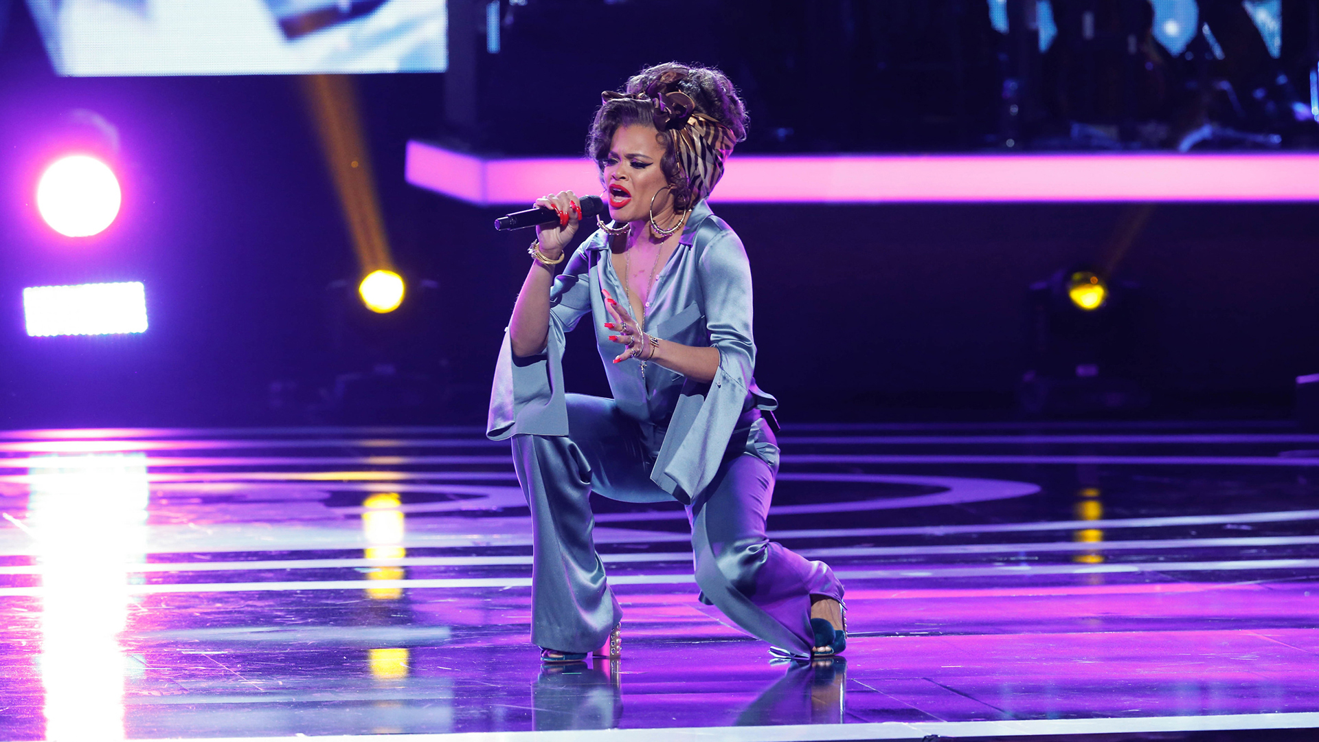 Andra Day performs as part of the opening medley at Bee Gees Tribute