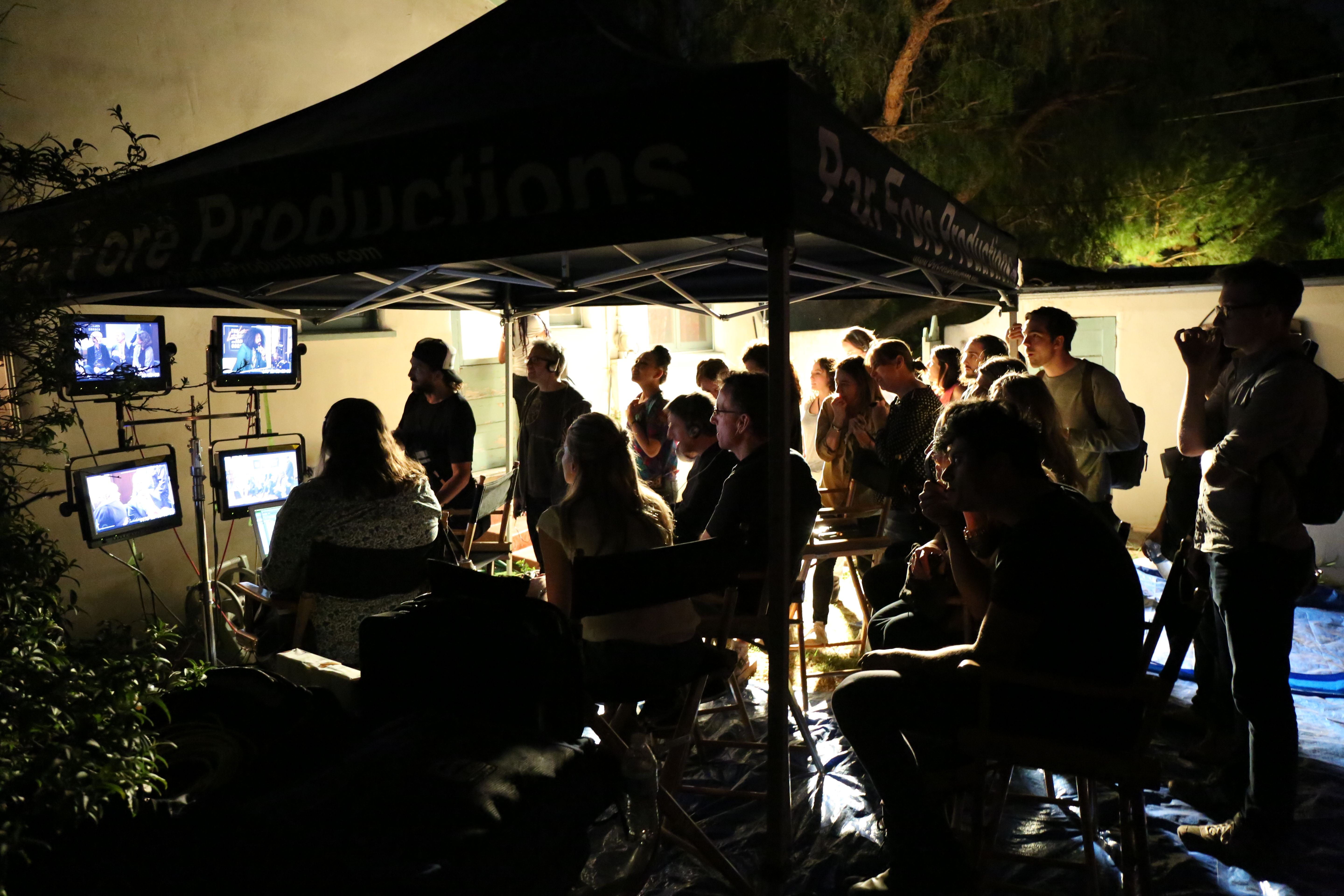 The makeshift control room in Tommy's yard.