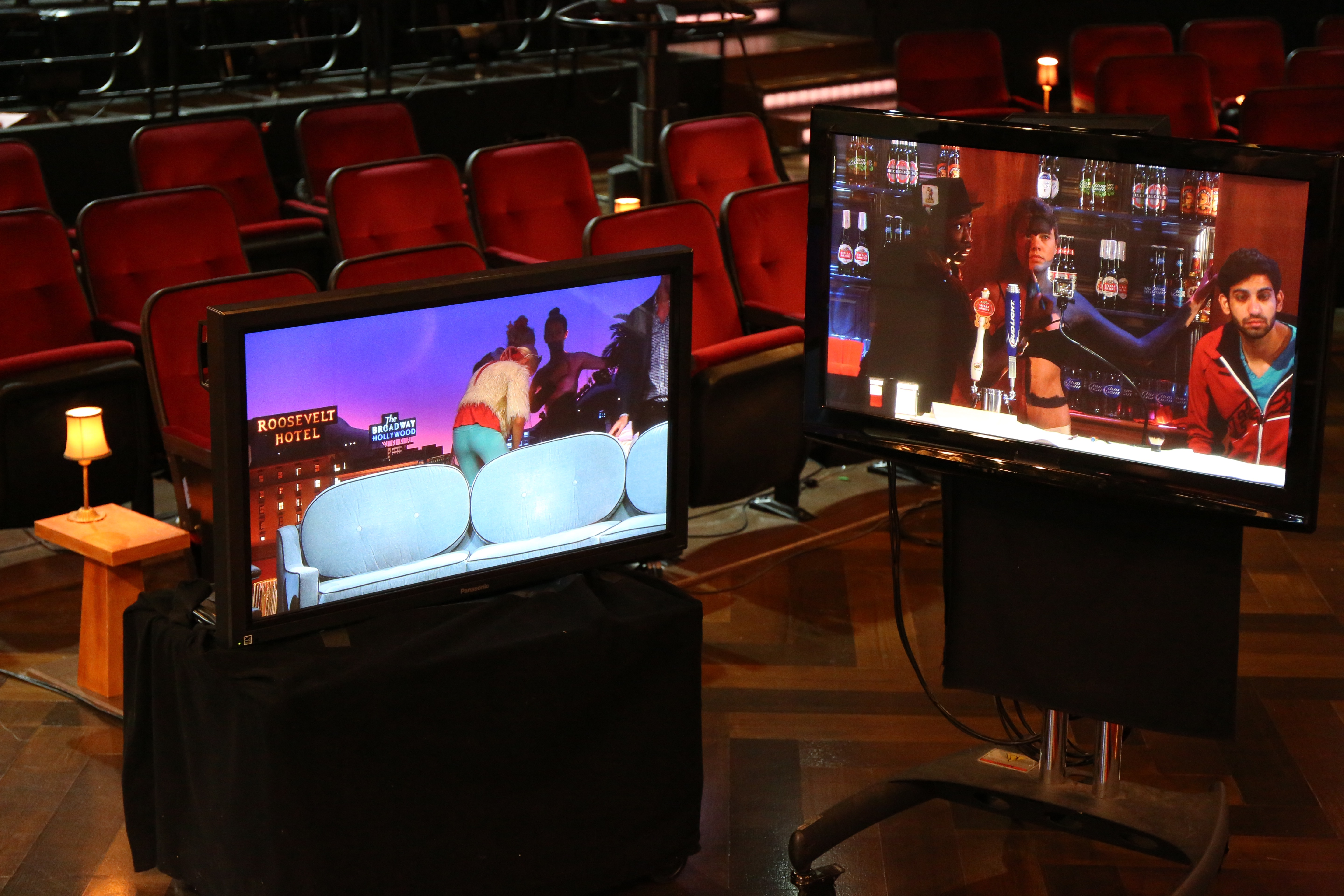 The beginning of what the audience will see on the monitors.