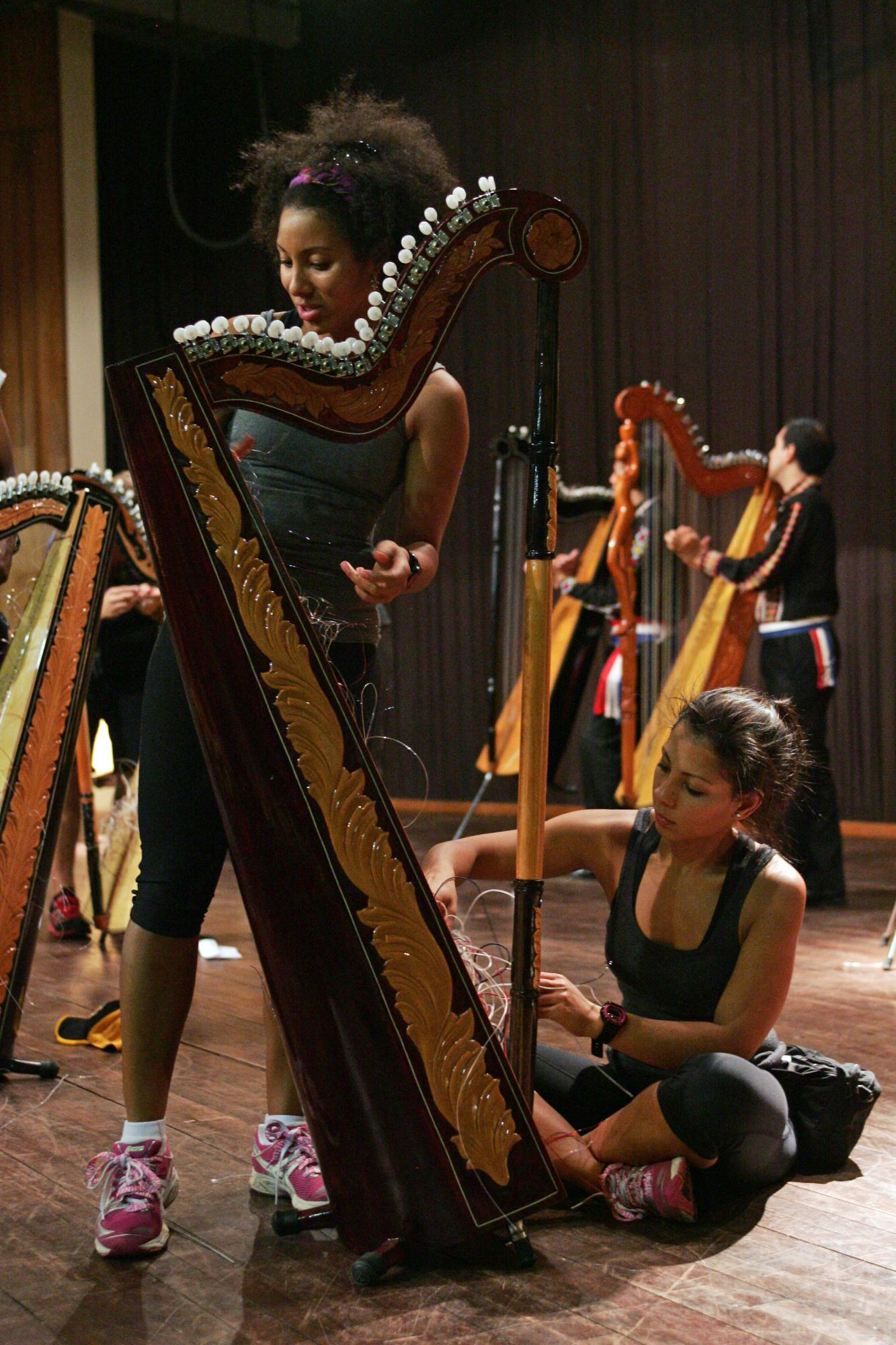 Stringing a Harp