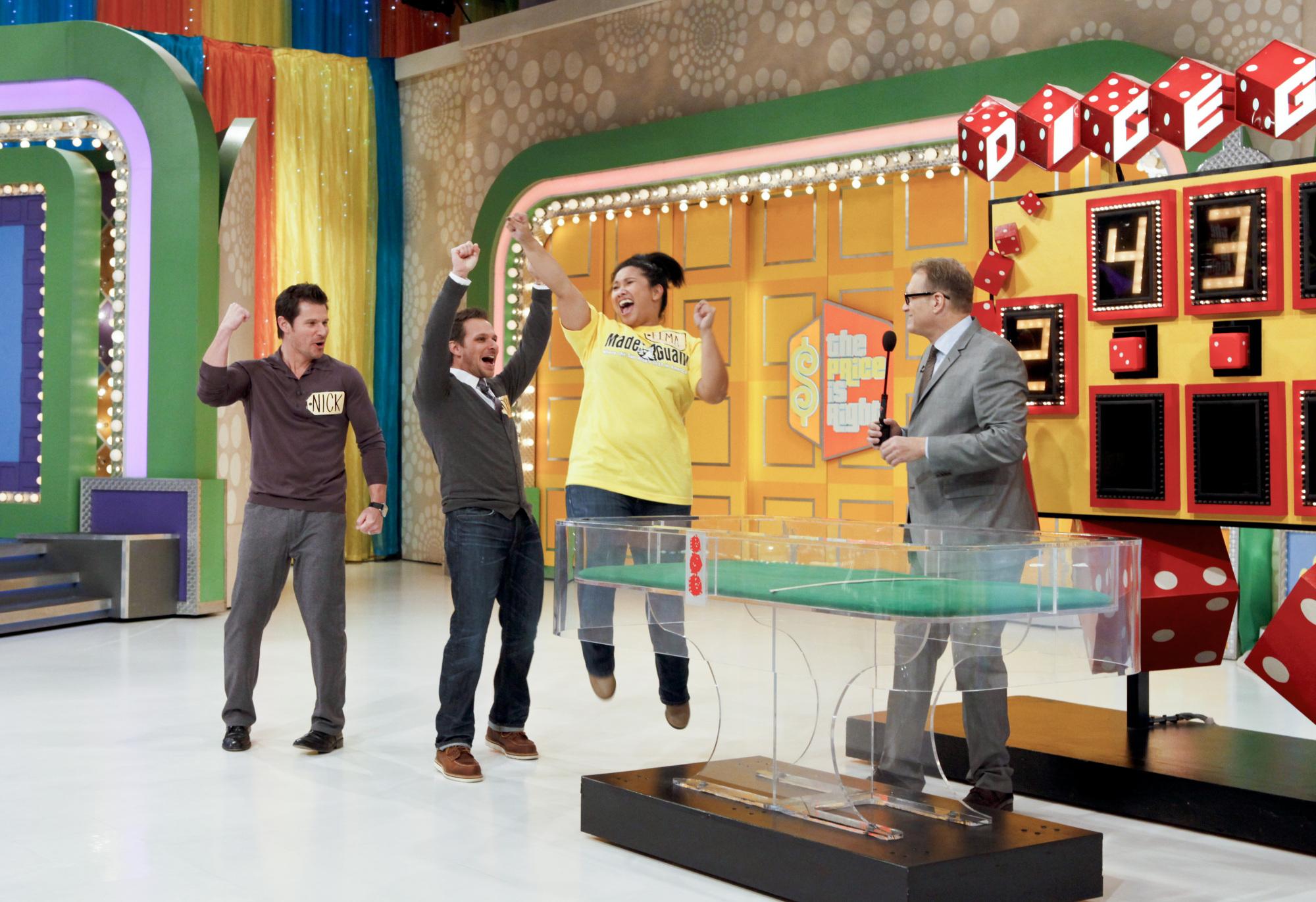 Nick, Drew, and Contestant!