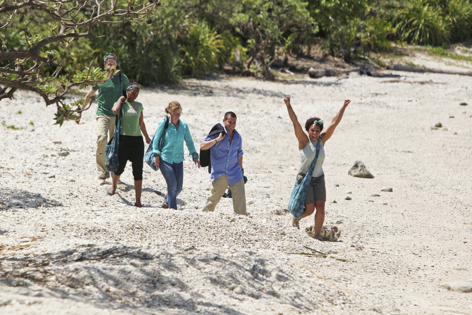 Walking to camp in the Season 28 premiere