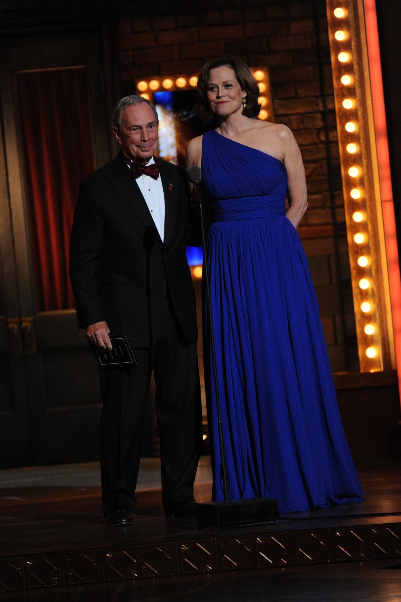 New York Mayor Michael Bloomberg and Sigourney Weaver