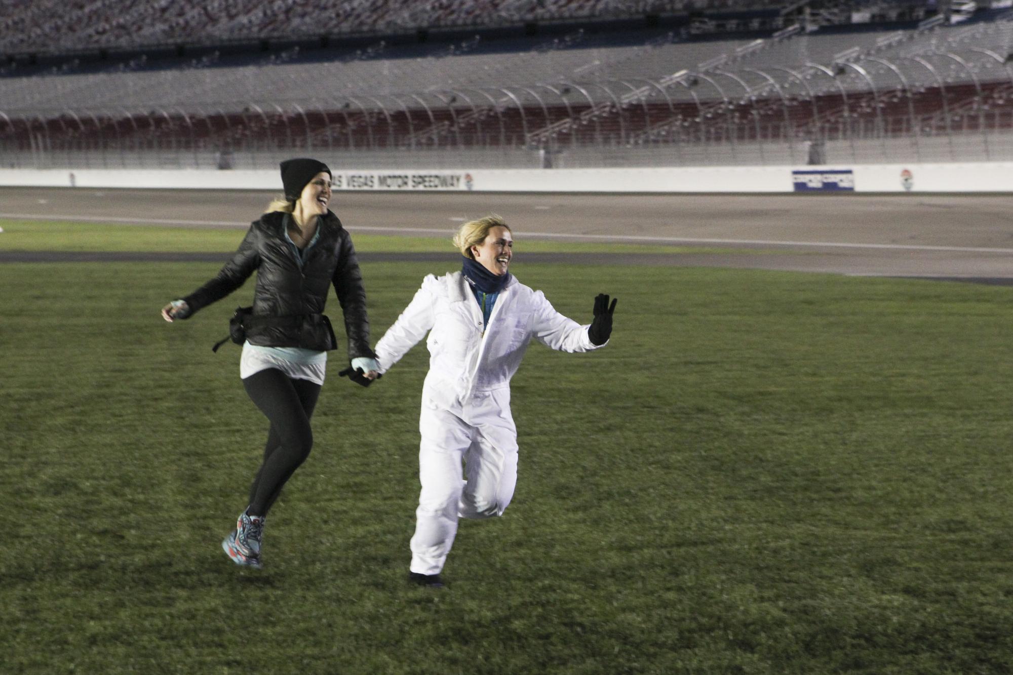 Landing on the Las Vegas Motor Speedway on The Amazing Race Season Finale