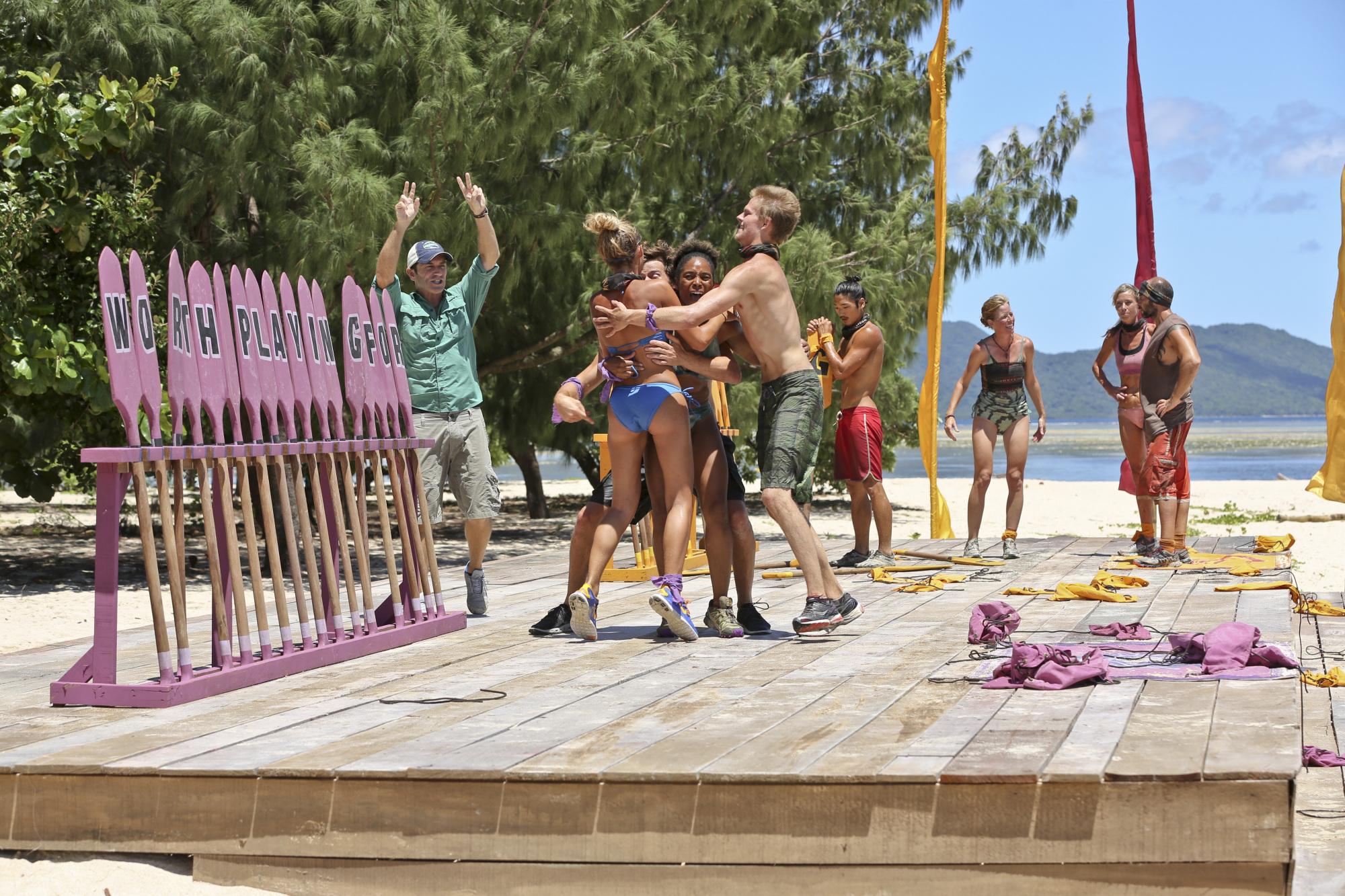 Celebrating winning the reward challenge in Season 28 Episode 9
