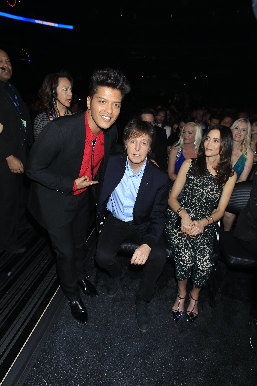Bruno Mars and Paul McCartney Backstage - GRAMMYs 2014 - CBS.com