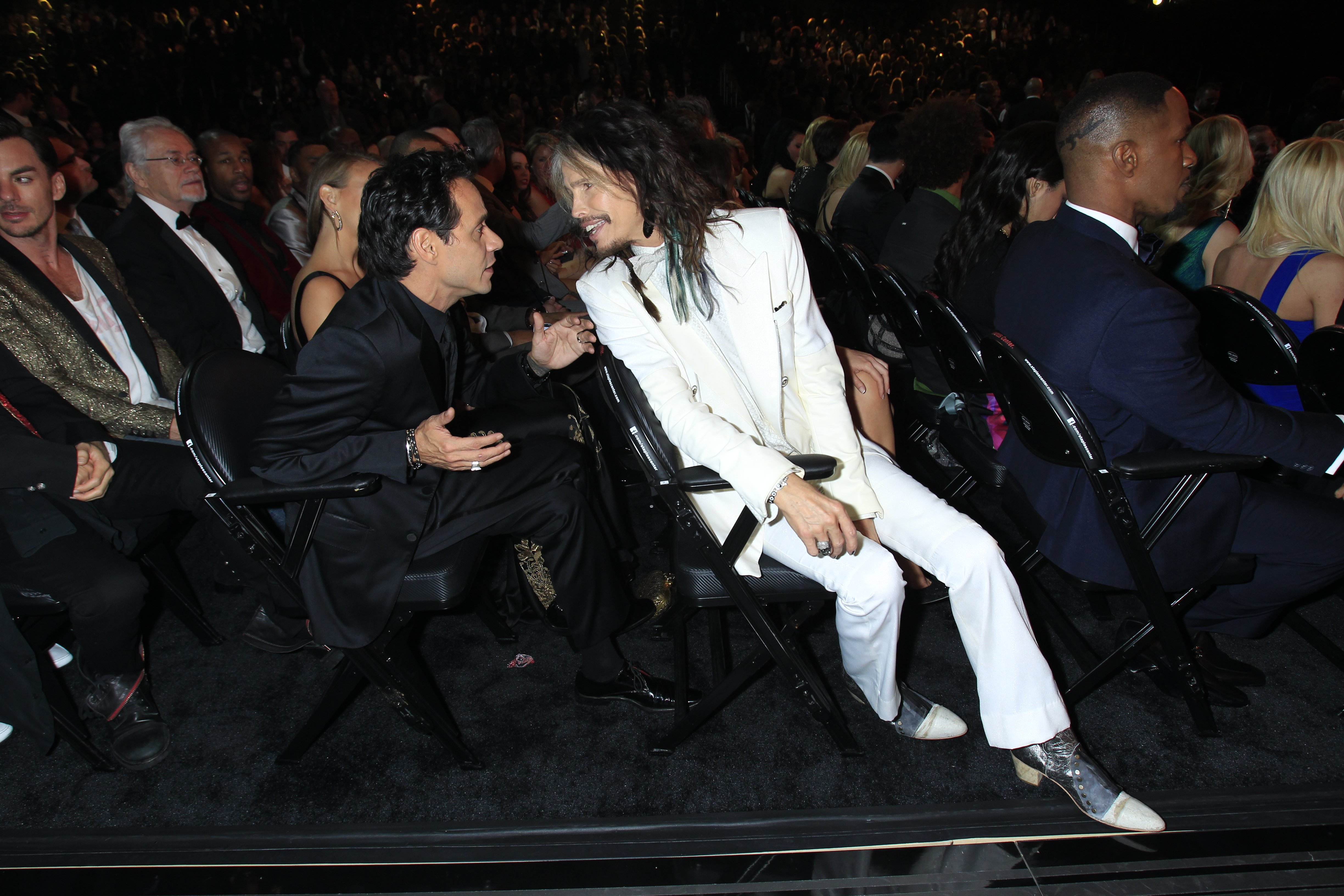 Steven Tyler and Marc Anthony Backstage - GRAMMYs 2014 - CBS.com