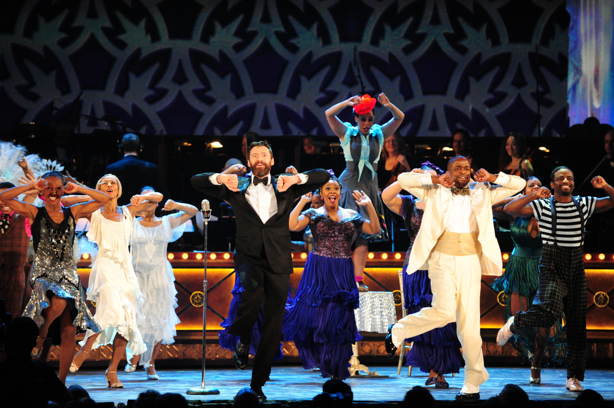 Hugh Jackman, Dule Hill and the cast of After Midnight - 2014 Tony Awards
