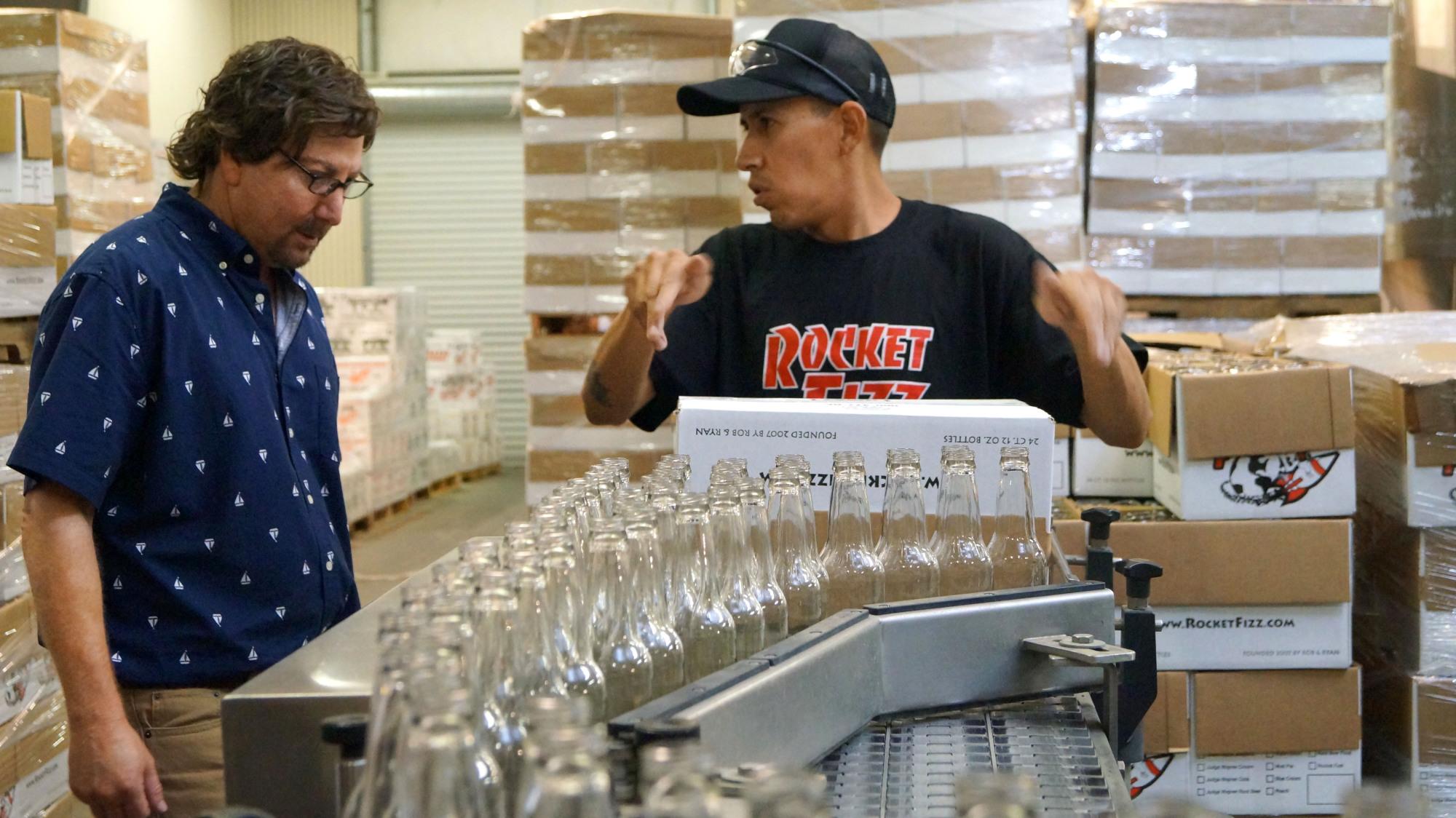 Packing the soda bottles