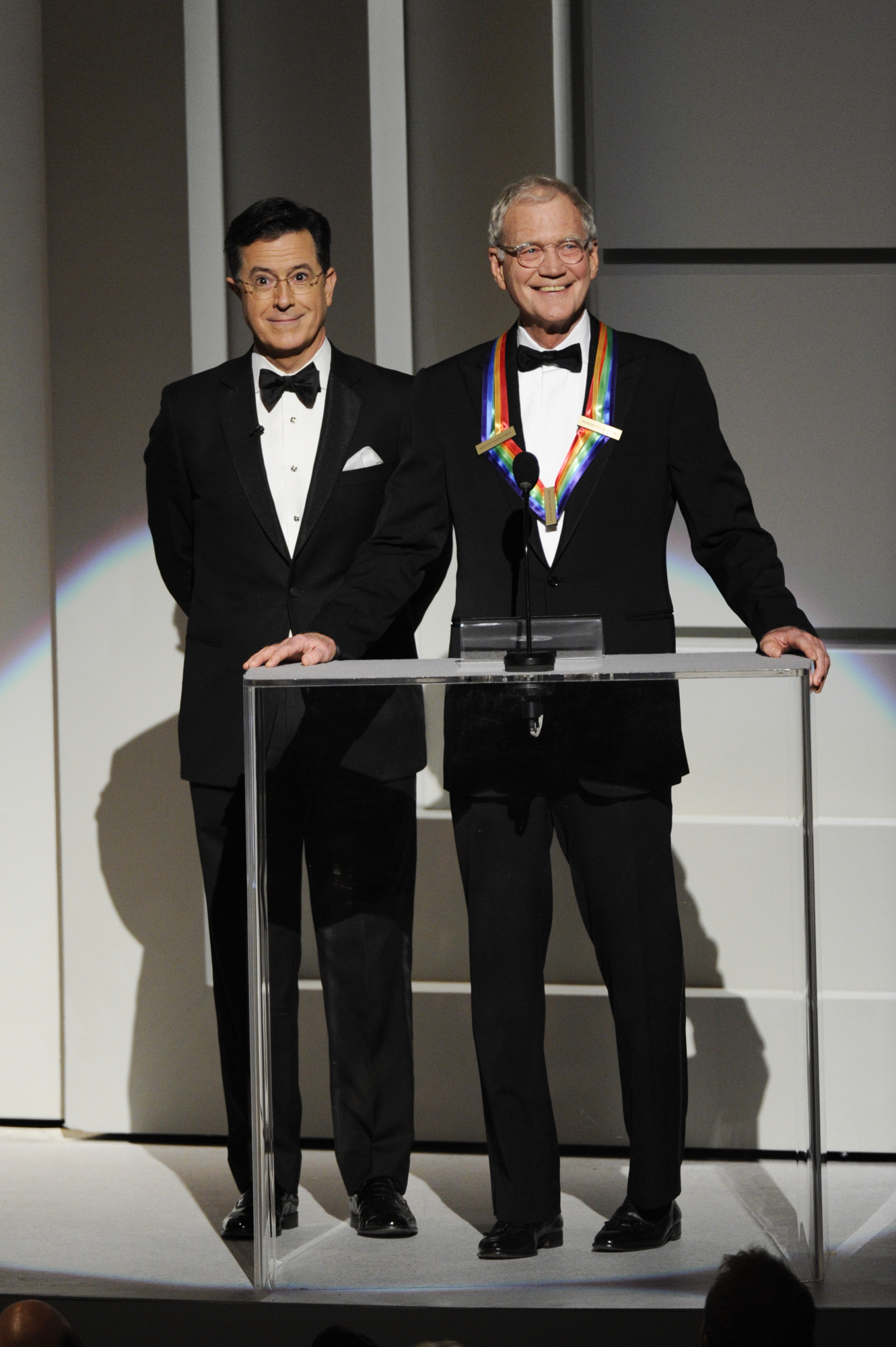 Stephen Colbert and David Letterman Share the Stage