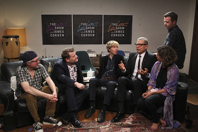 Not even Beck could stop staring at Goldblum's enthusiasm.