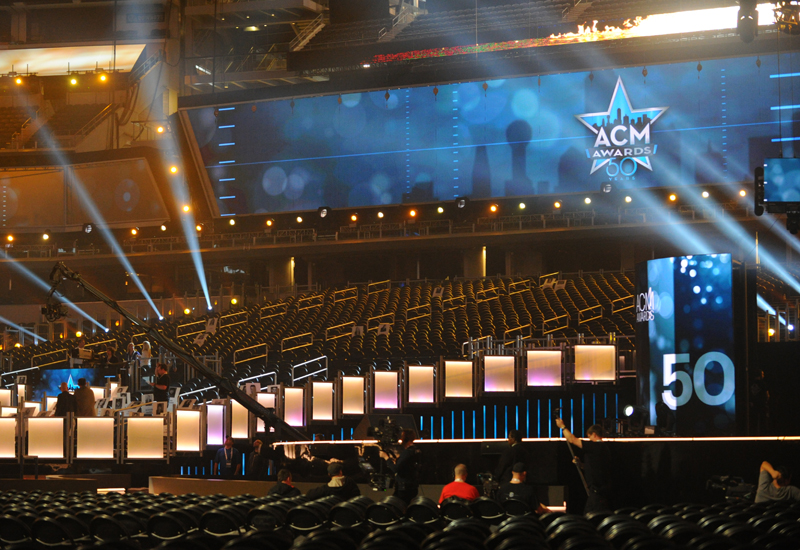 AT&T Stadium prepares for the ACM Awards.