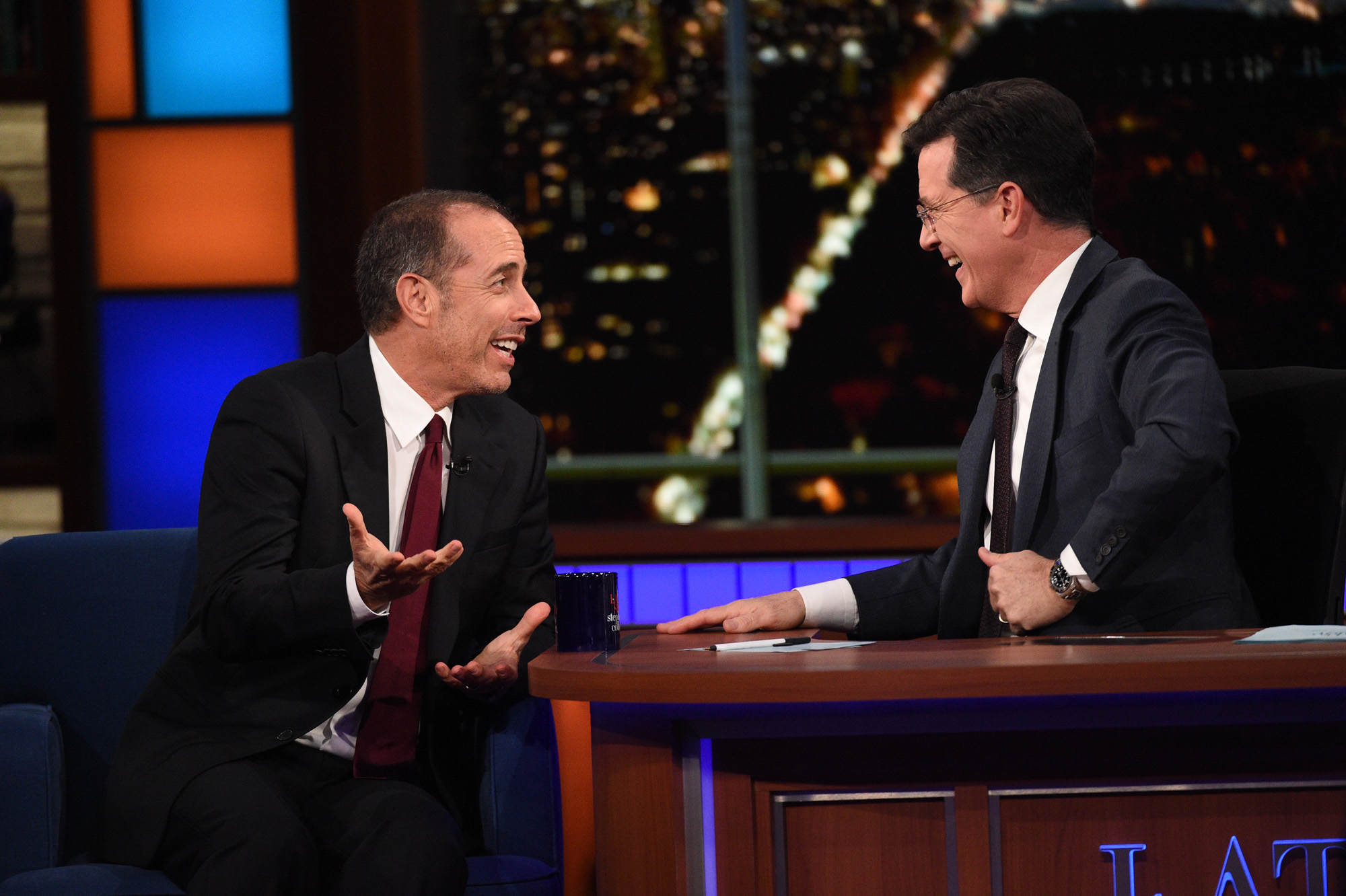 Jerry Seinfeld and Stephen Colbert