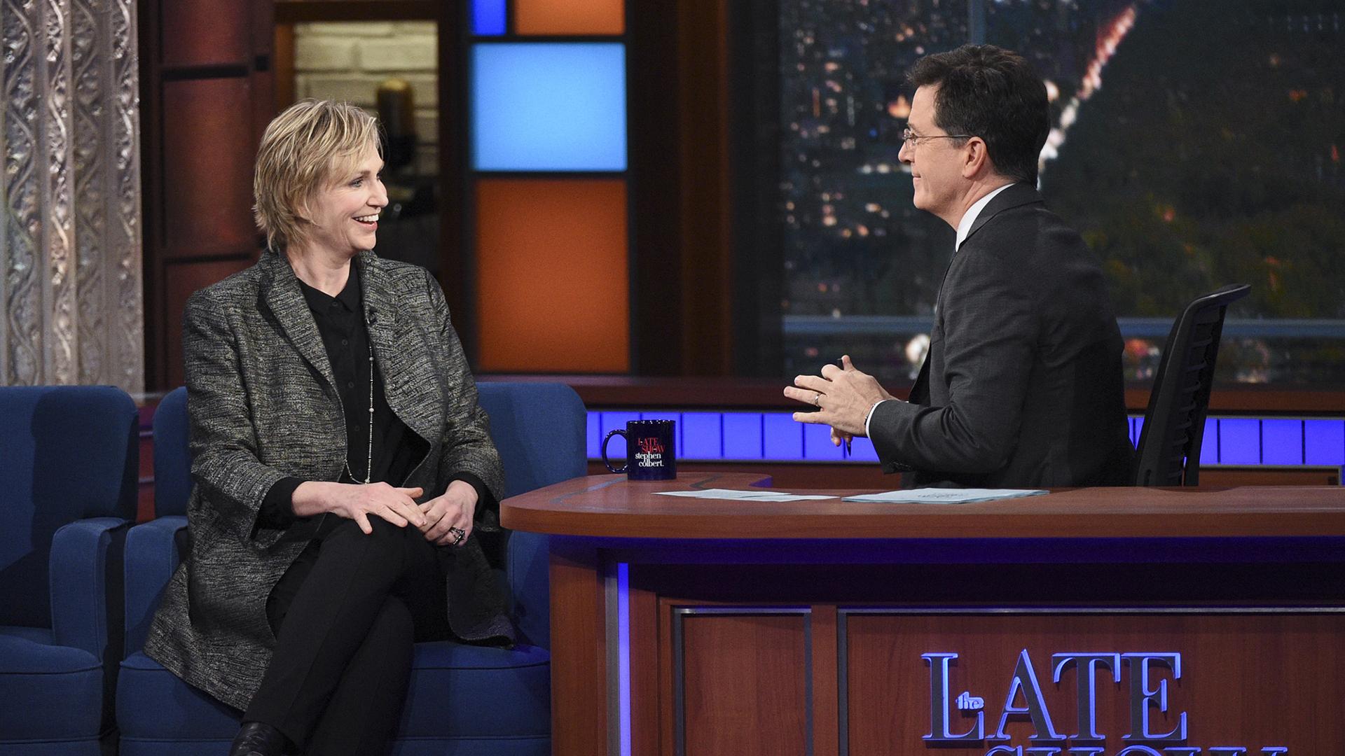 Jane Lynch and Stephen Colbert