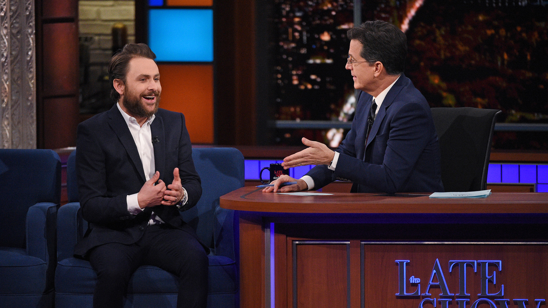 Charlie Day and Stephen Colbert