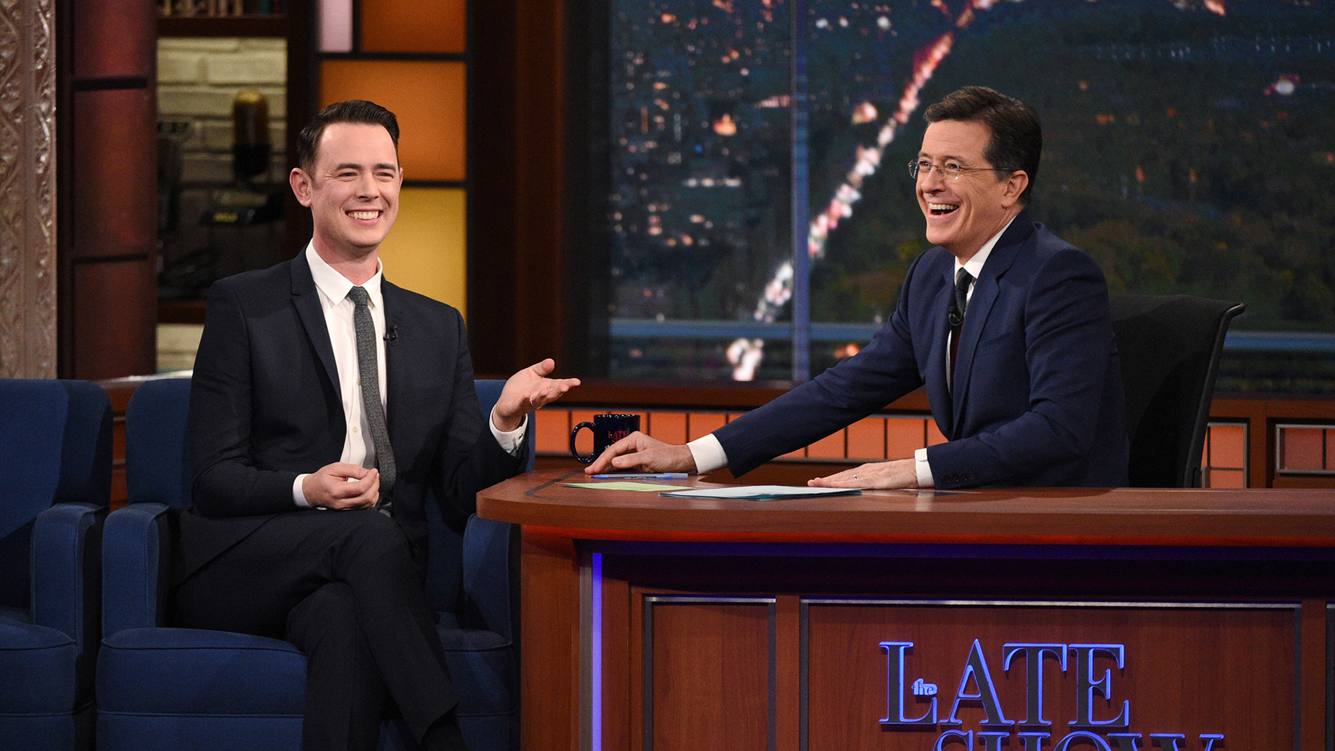 Colin Hanks and Stephen Colbert