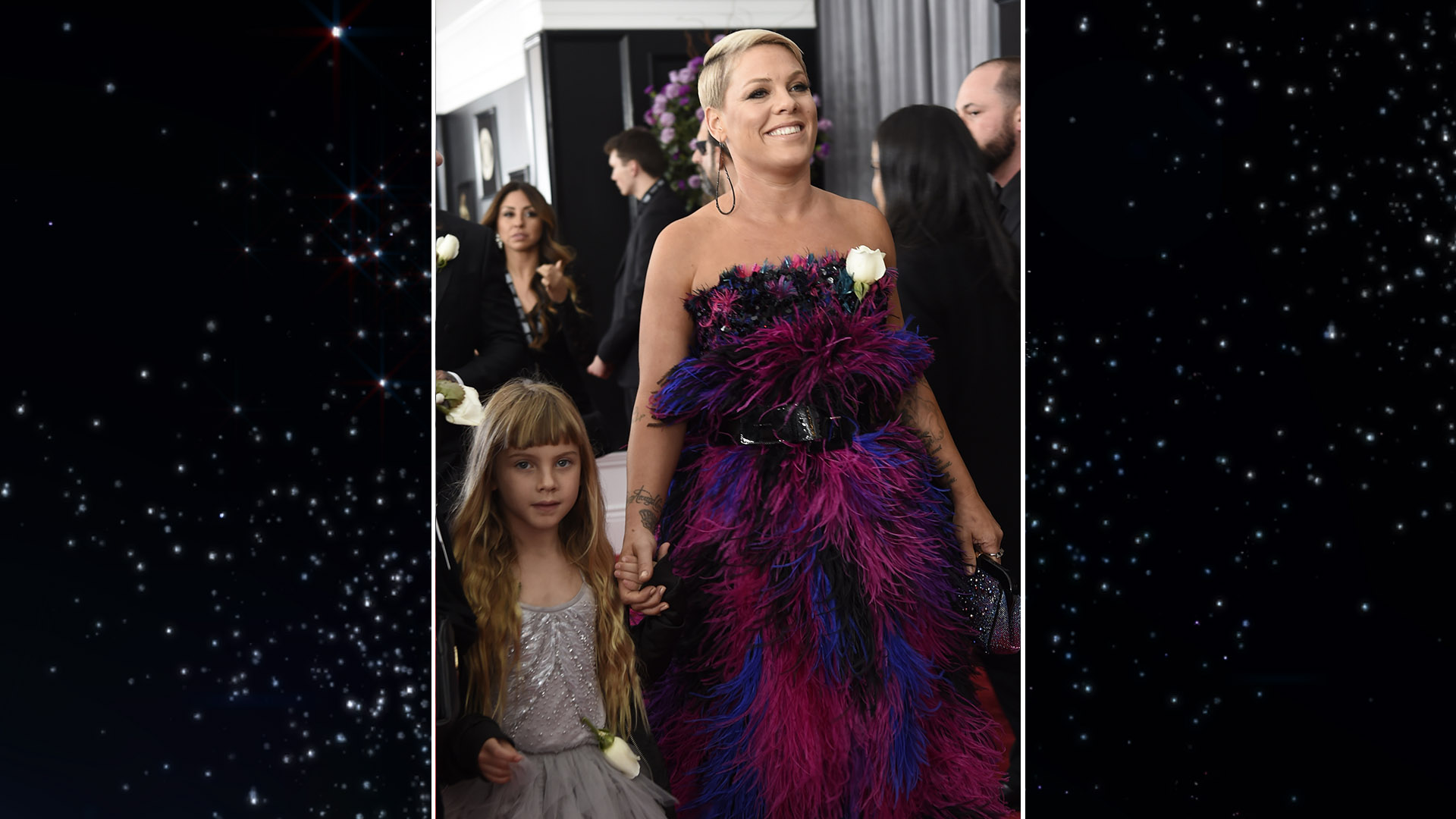 P!nk breezes down the 60th Annual GRAMMY Awards red carpet with her daughter, Willow Sage.