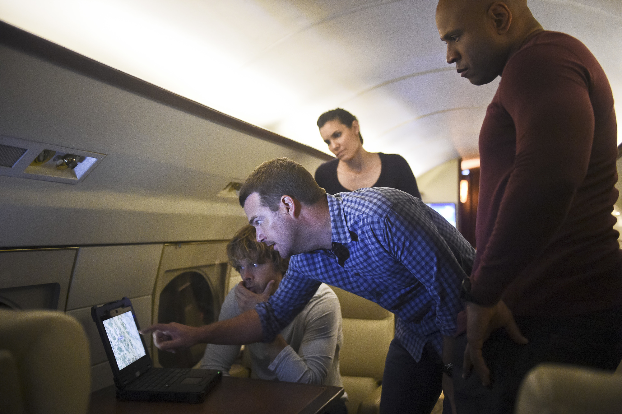 Eric Christian Olsen as LAPD Liaison Marty Deeks, Chris O'Donnell as Special Agent G. Callen, Daniela Ruah as Special Agent Kensi Blye, and LL COOL J as Special Agent Sam Hanna