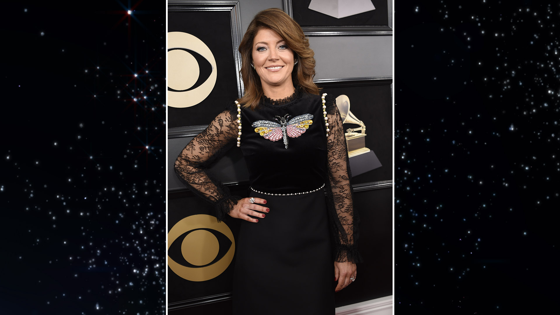 CBS This Morning co-anchor Norah O'Donnell sails down the red carpet in a simple black dress with butterfly embellishment.