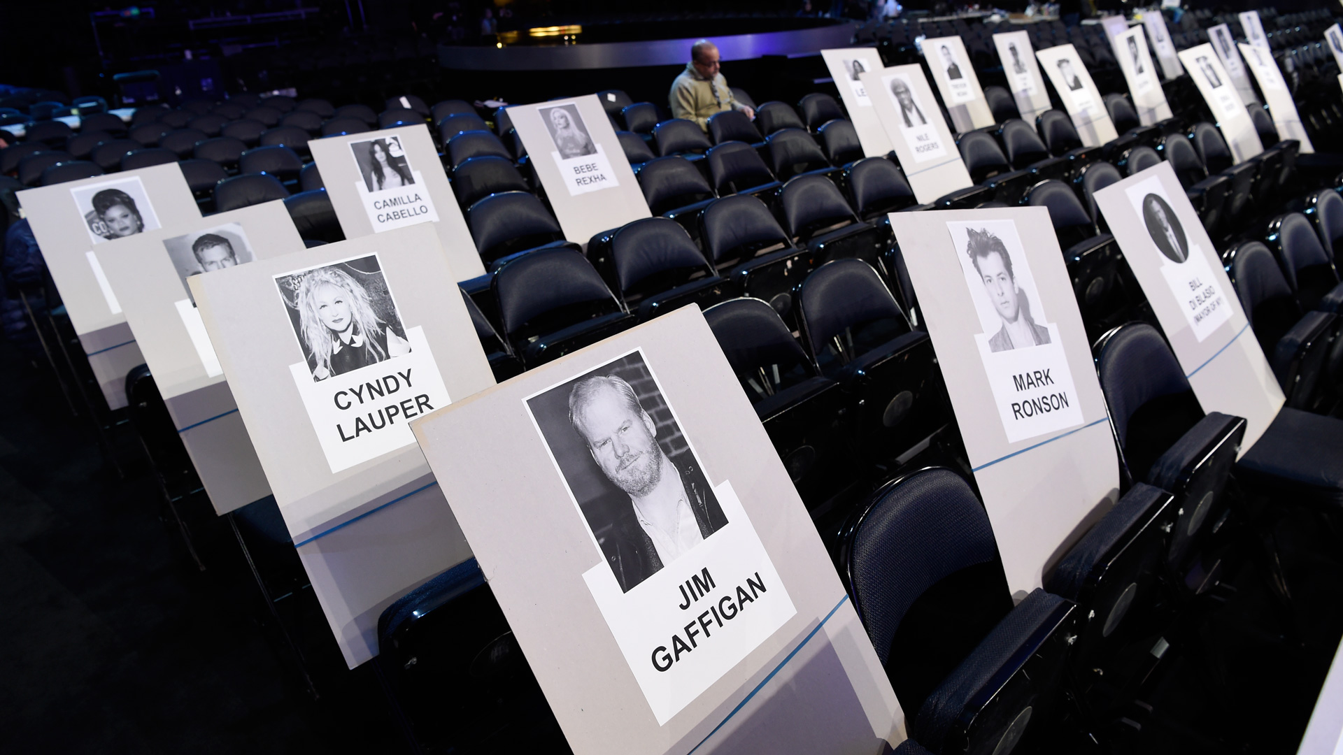 Singer Cyndi Lauper, comedian Jim Gaffigan, and producer Mark Ronson will be seated in the same area.