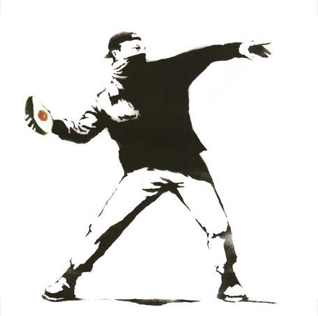 Flower Thrower with Avocado, Banksy, 2003