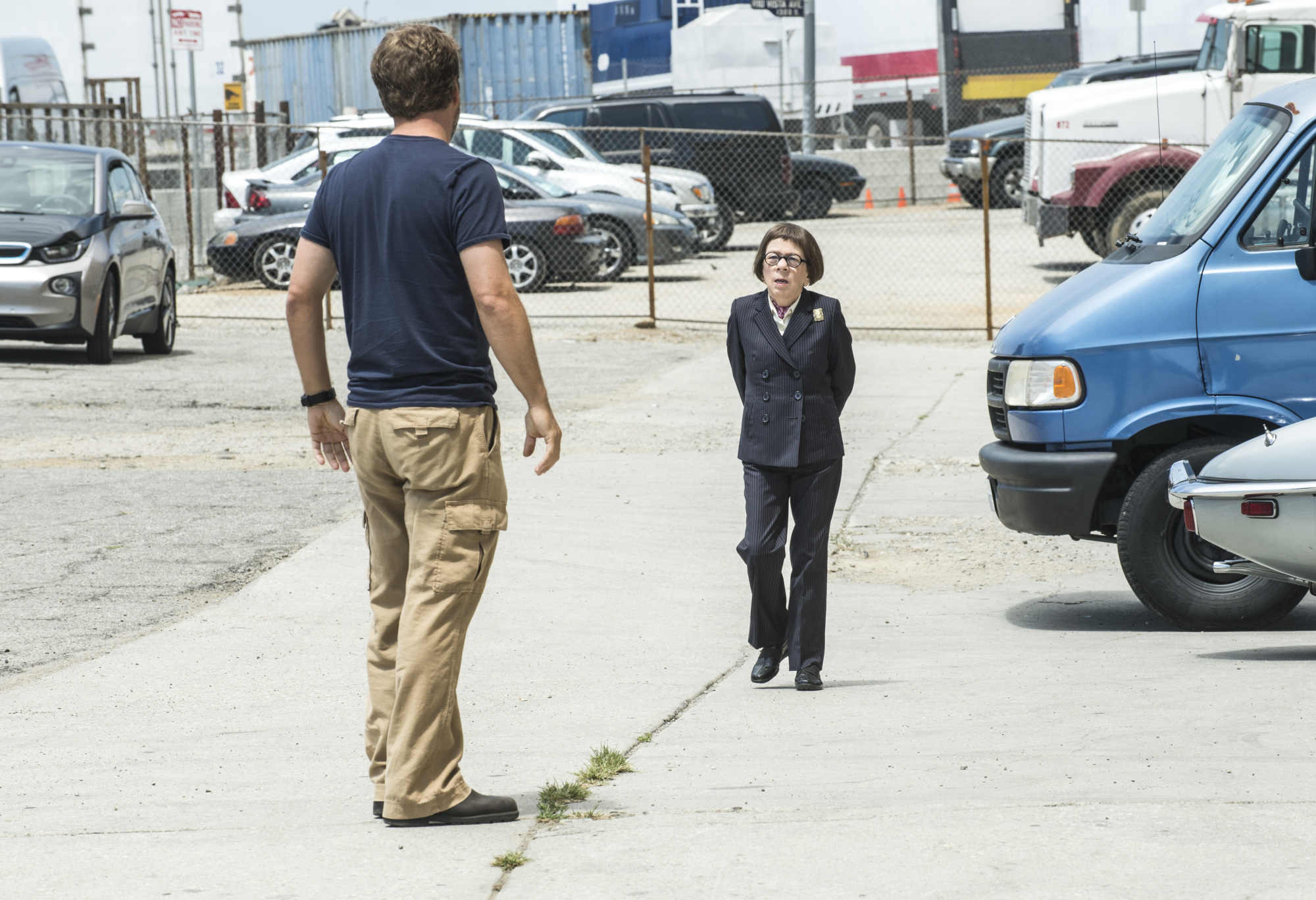 Chris O'Donnell as Special Agent G. Callen and Linda Hunt as Henrietta