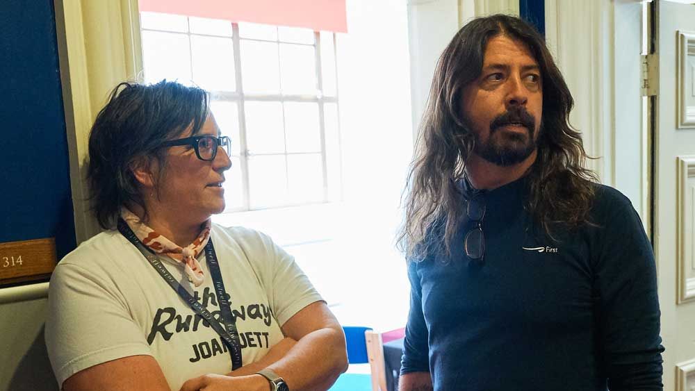Kate Schellenbach, former drummer of Luscious Jackson and Beastie Boys, hangs with fellow drummer Dave Grohl.