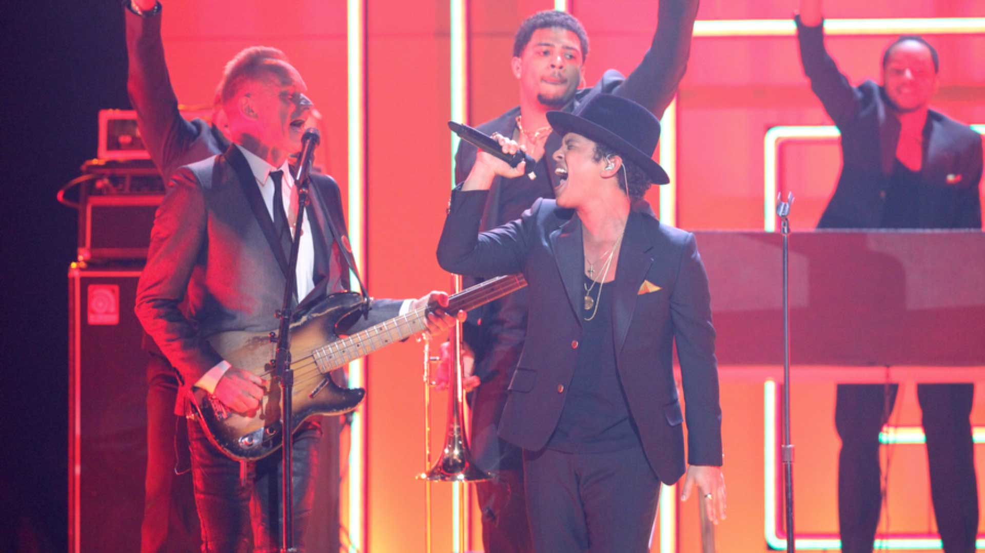 Sting and Bruno Mars perform