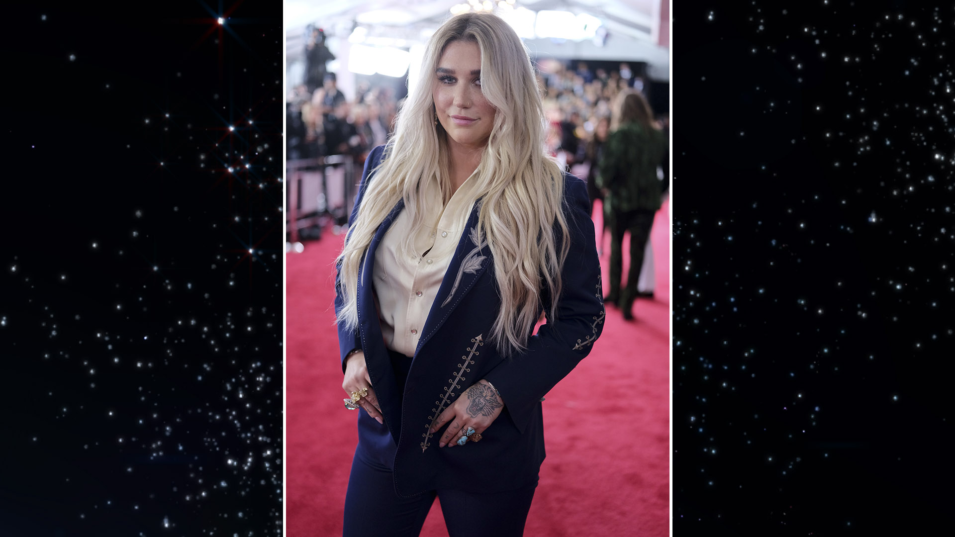 Kesha makes her grand return to the GRAMMY Awards red carpet while wearing a vintage Nudie Cohn suit.