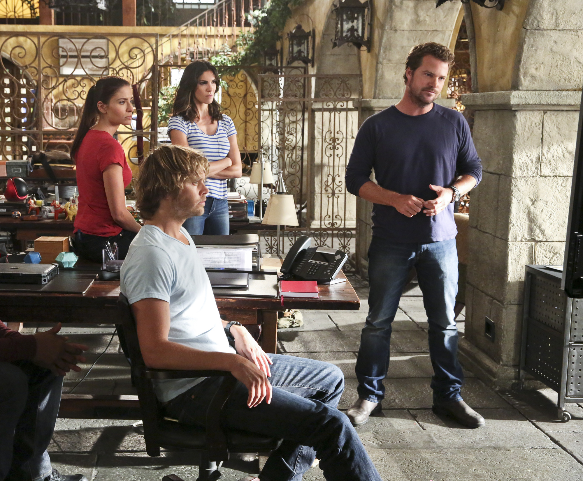 Mercedes Mason as DEA Agent Talia Del Campo, Eric Christian Olsen as LAPD Liaison Marty Deeks, Daniela Ruah as Special Agent Kensi Blye, and Chris O'Donnell as Special Agent G. Callen.