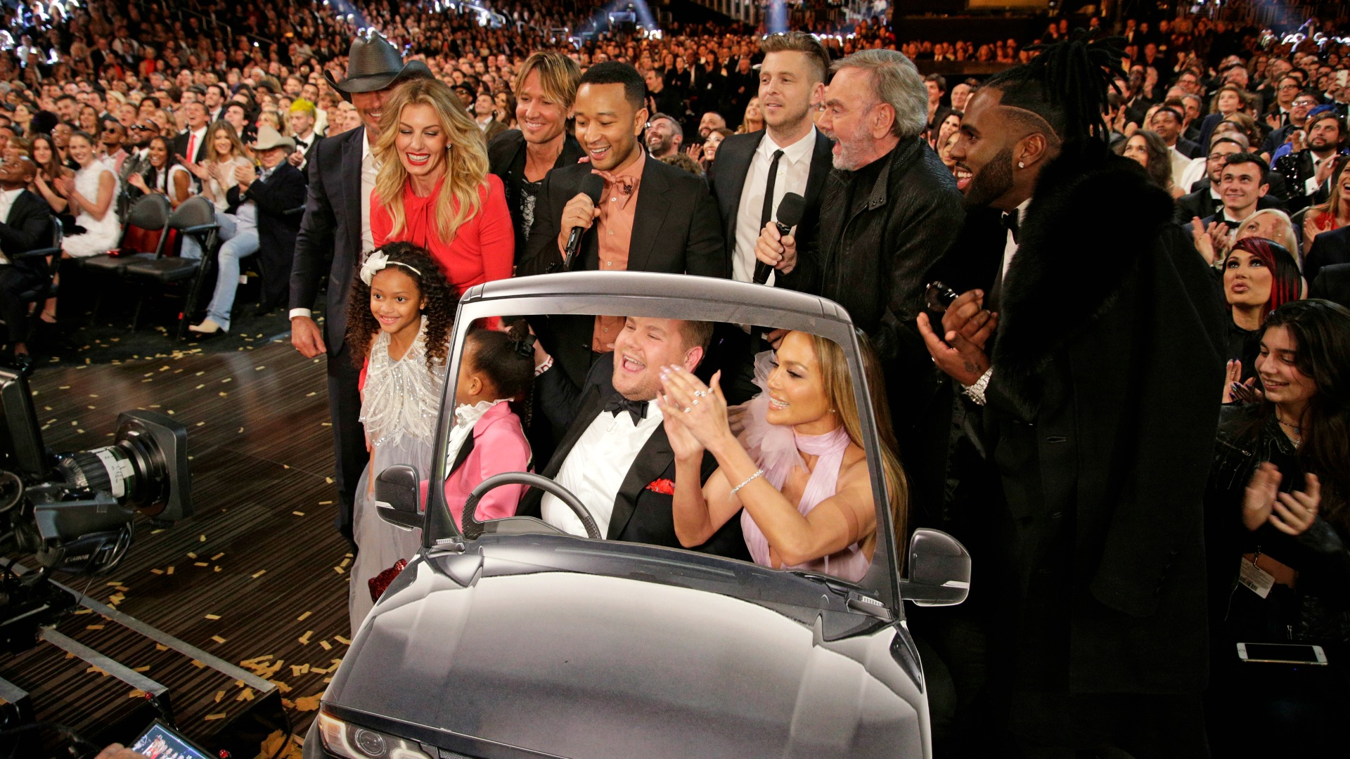 James Corden took a bevy of stars for a cardboard ride in an impromptu singalong of Carpool Karaoke of