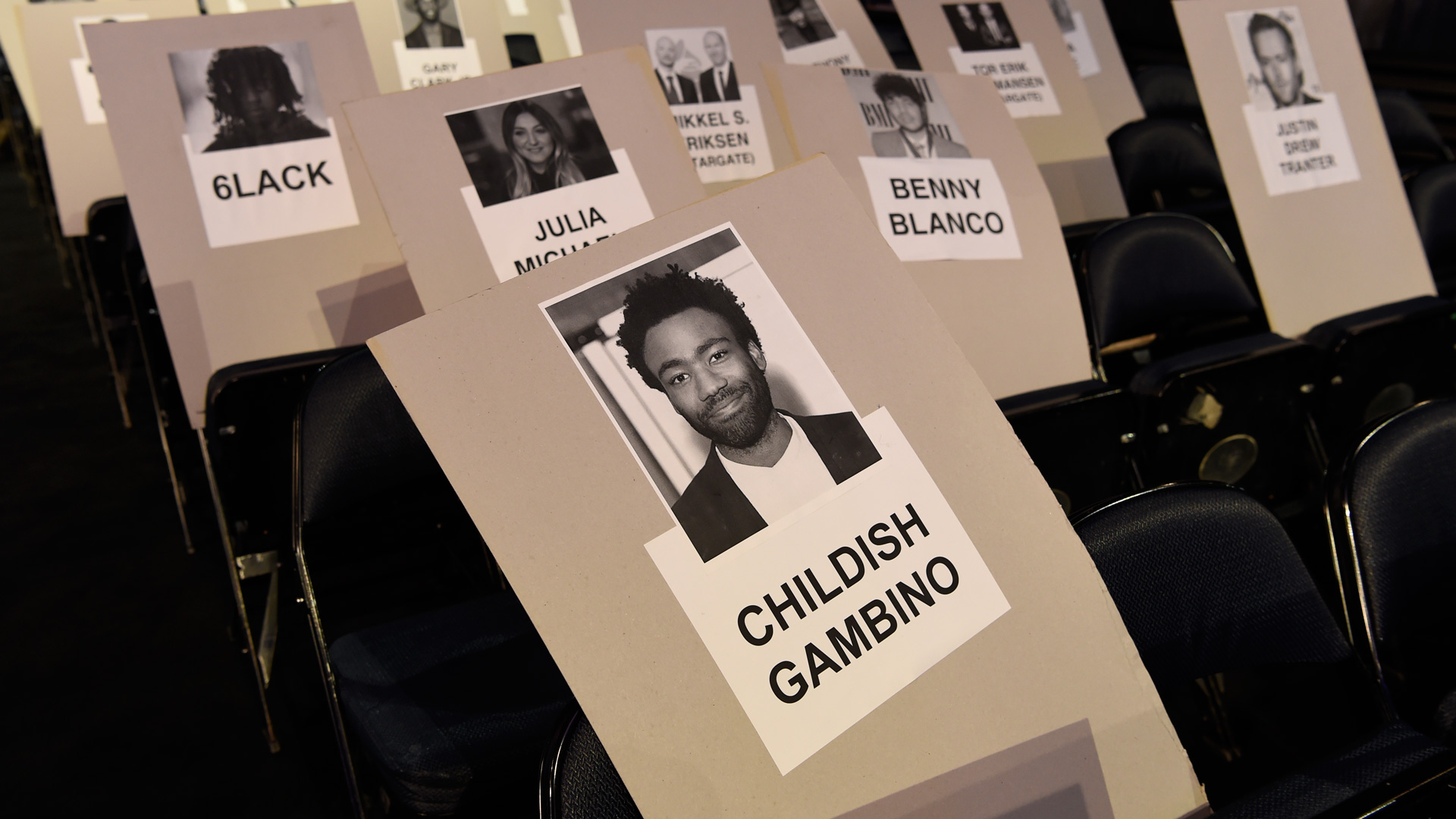 Here's where nominee and performer Childish Gambino will be seated during the night.