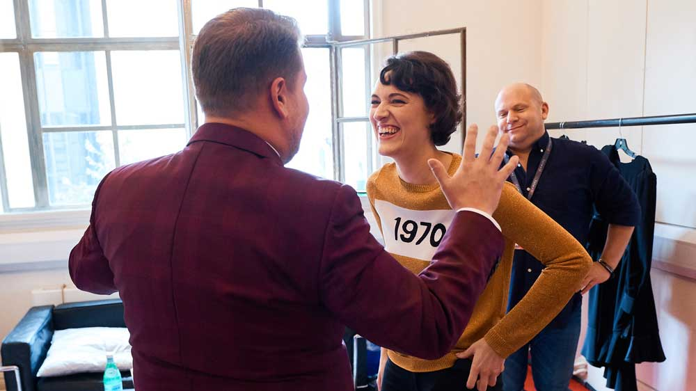 James Corden's back, Phoebe Waller-Bridge, and a pleasant bald man are the ingredients for a great photo.
