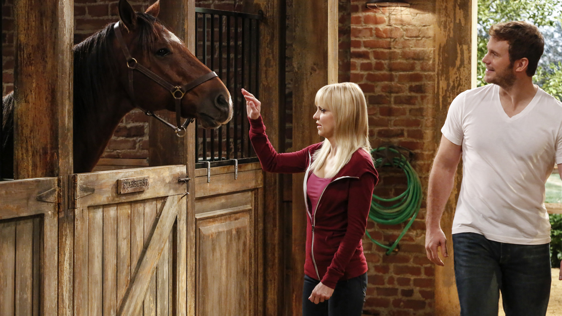 Christy heads to the stables to visit her new crush and his mane squeeze.