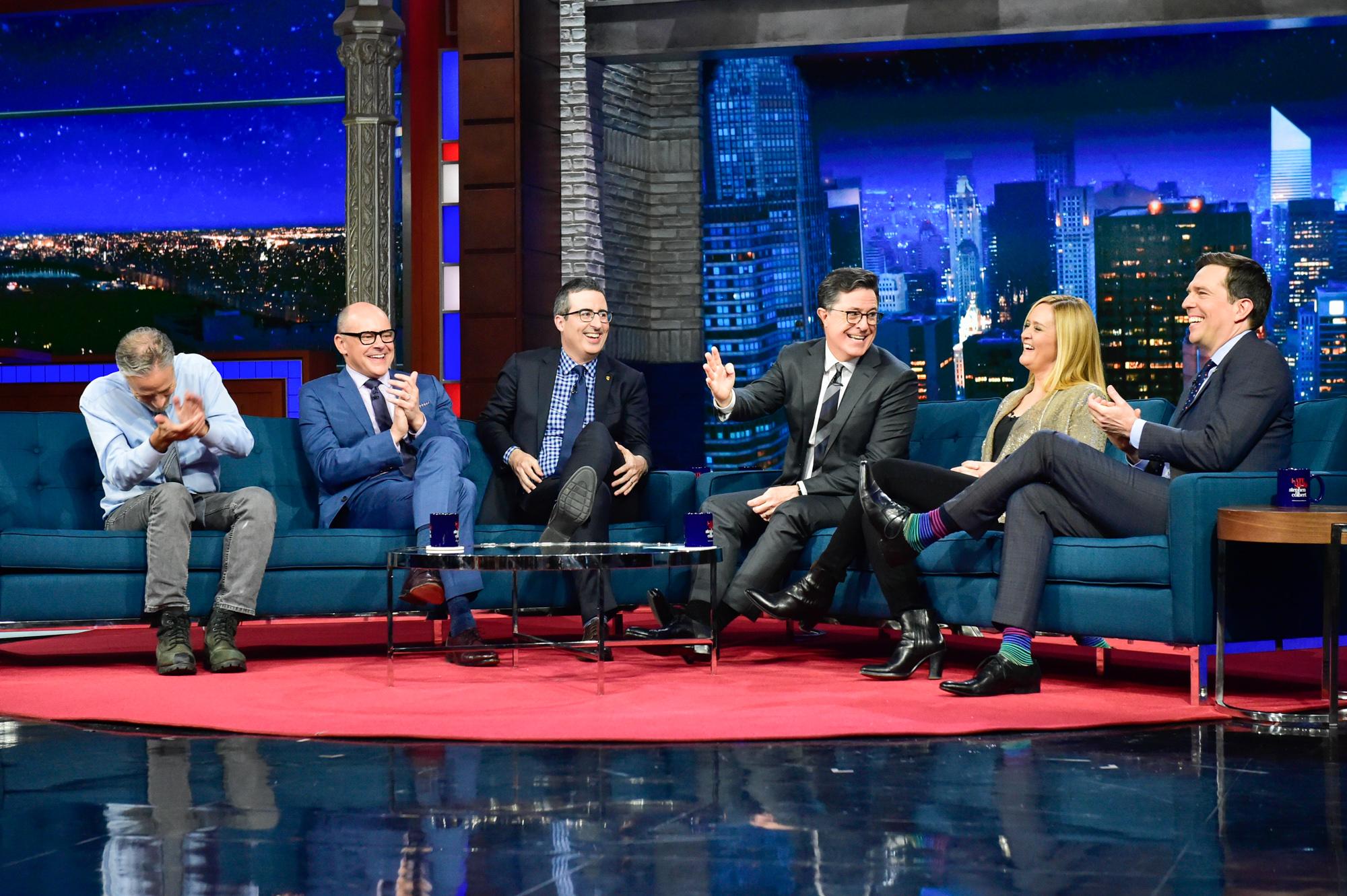 Jon, Rob, John, Stephen, Samantha, and Ed share a laugh.