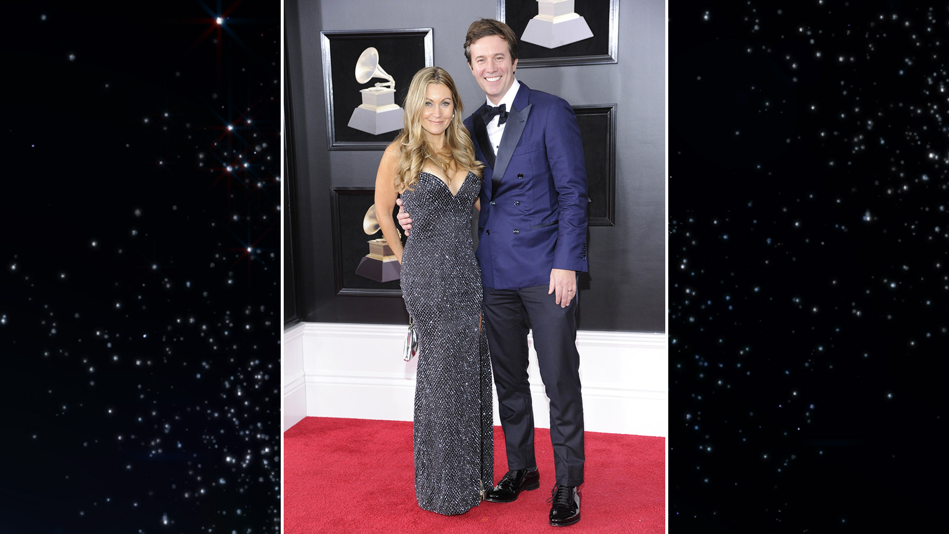 CBS Evening News anchor Jeff Glor and his wife, Nicole, make fashion headlines on the GRAMMY red carpet.