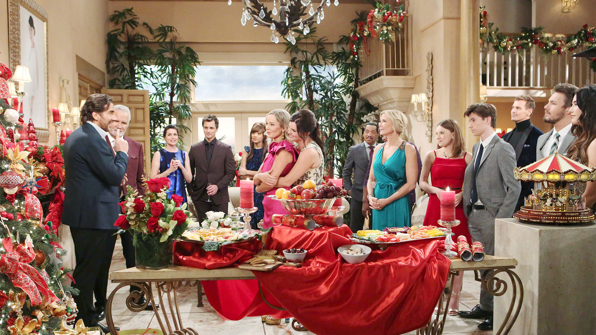 The Logan, Forrester, and Avant families come together for Christmas and Eric and Brooke make toasts about the history of their families and the meaning of the holiday.
