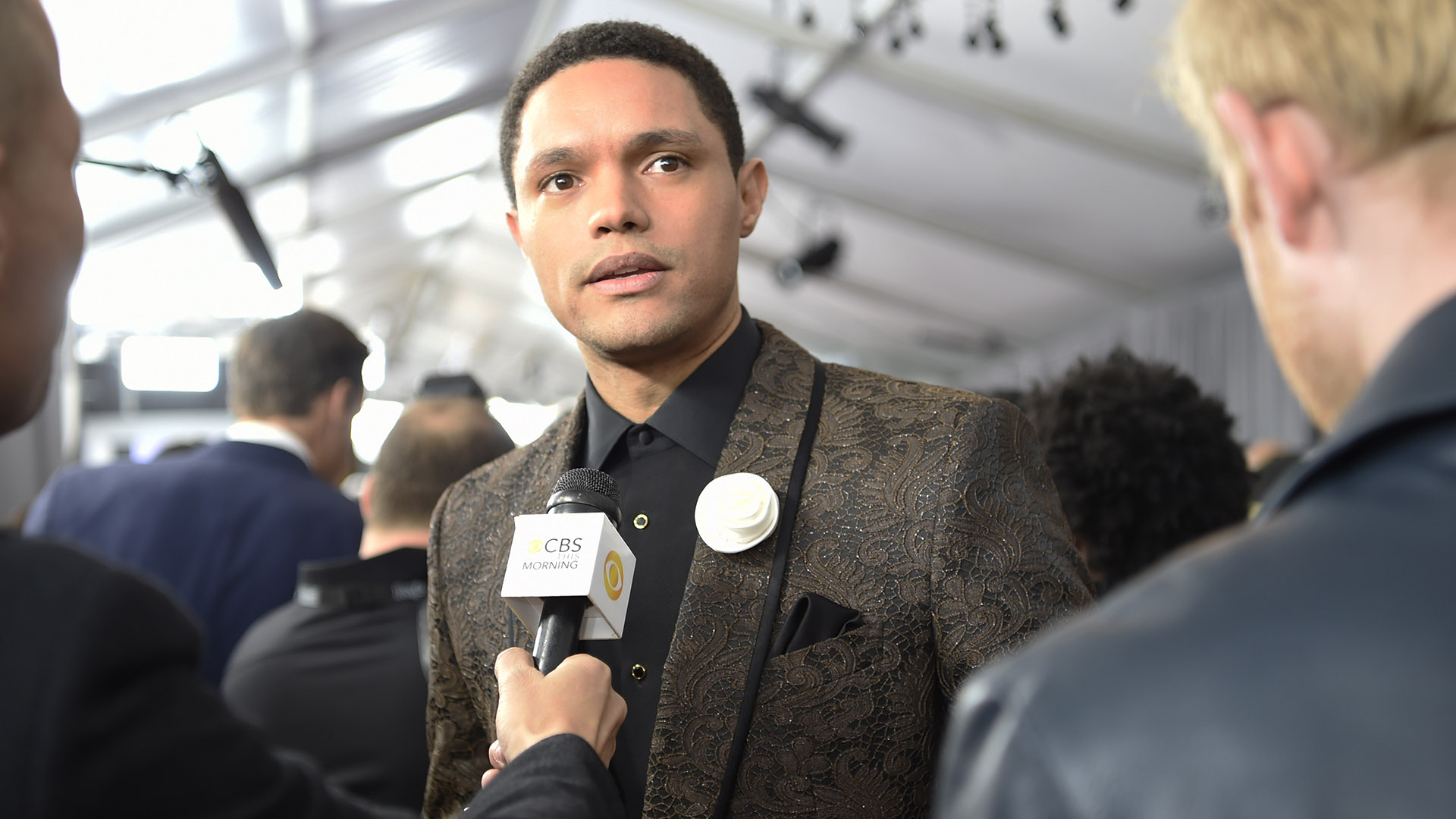 Trevor Noah gladly stops to chat with CBS This Morning on the 60th GRAMMY Awards red carpet.