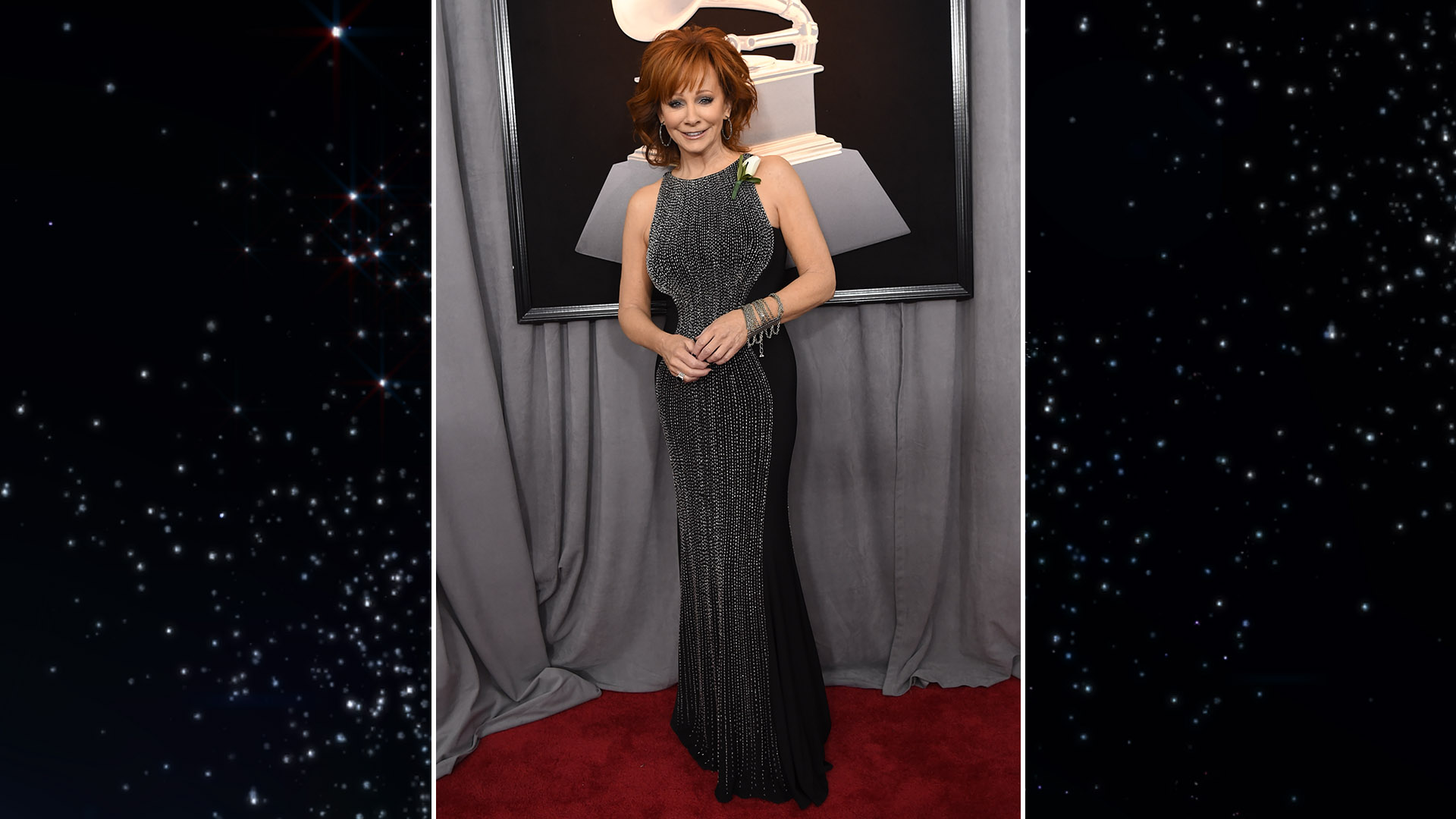 Queen of Country Reba McEntire looks positively regal in a crystal-encrusted black gown.