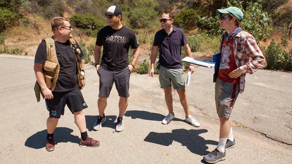 James Corden, Chris Pratt, Rob Crabbe, and Nate Fernald talk about hiking and loving short pants.