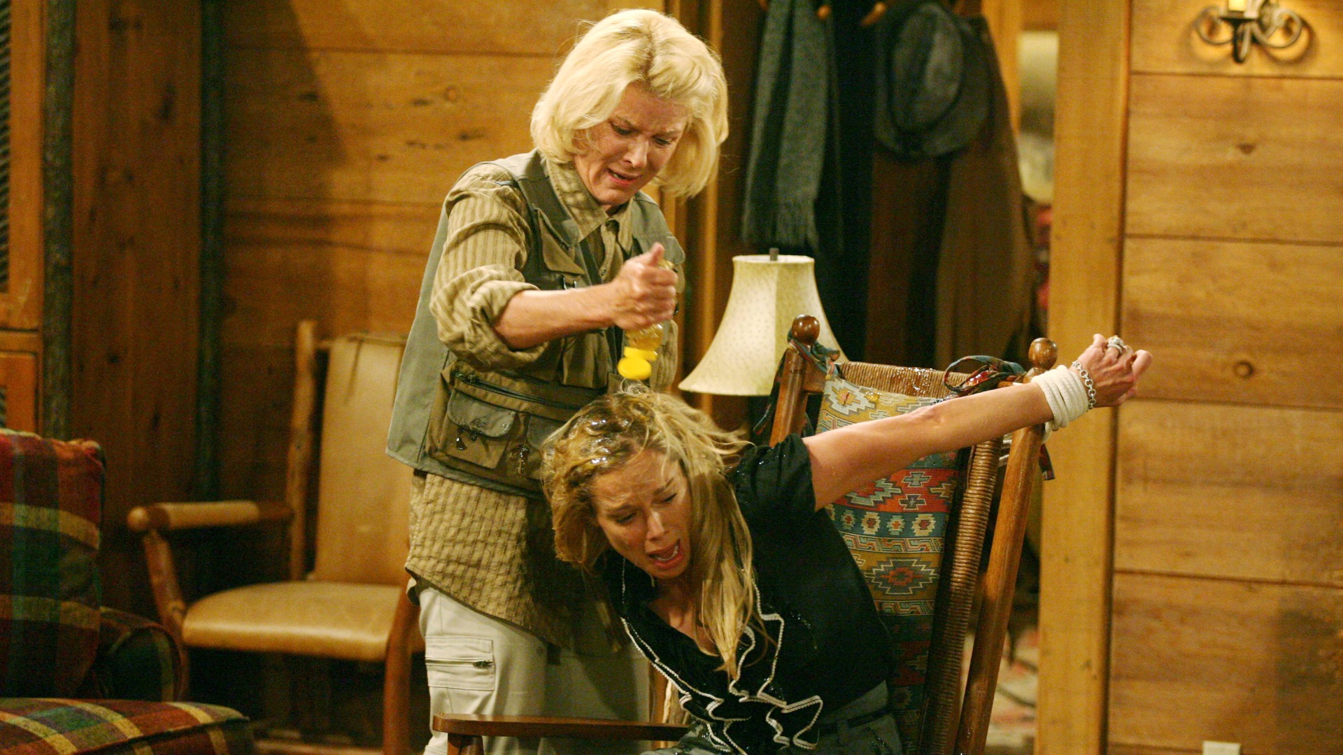 Pam tied Donna to a chair and poured honey on her in hopes a bear would attack.