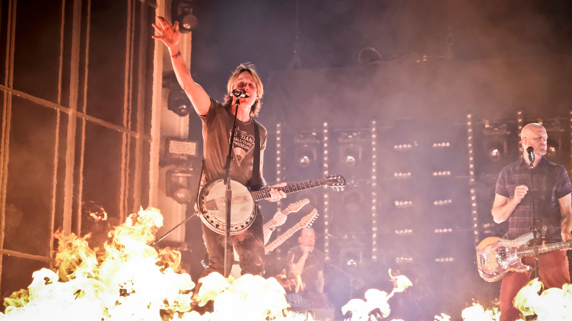 Keith Urban sets the stage on fire—literally—during rehearsals for Country Music's Party of the Year®