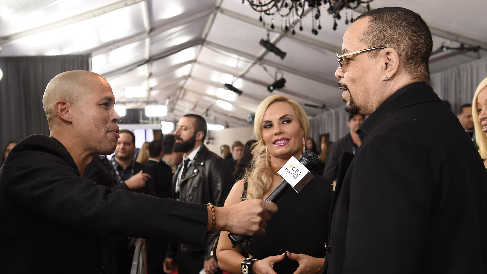 Ice-T and Coco stop on the 60th Annual GRAMMY Awards red carpet to talk with CBS This Morning.