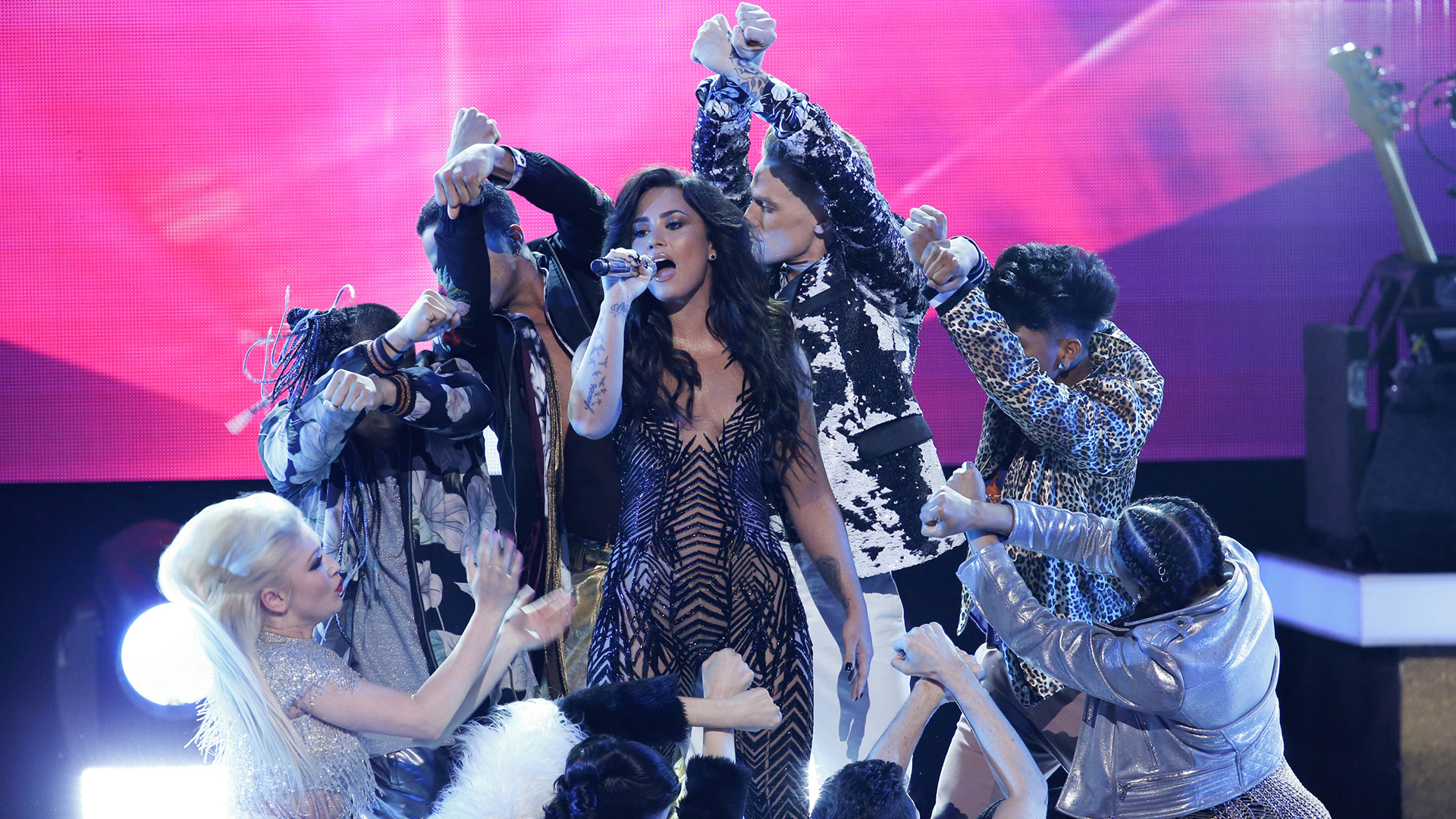Demi Lovato performs as part of the opening medley at Bee Gees Tribute