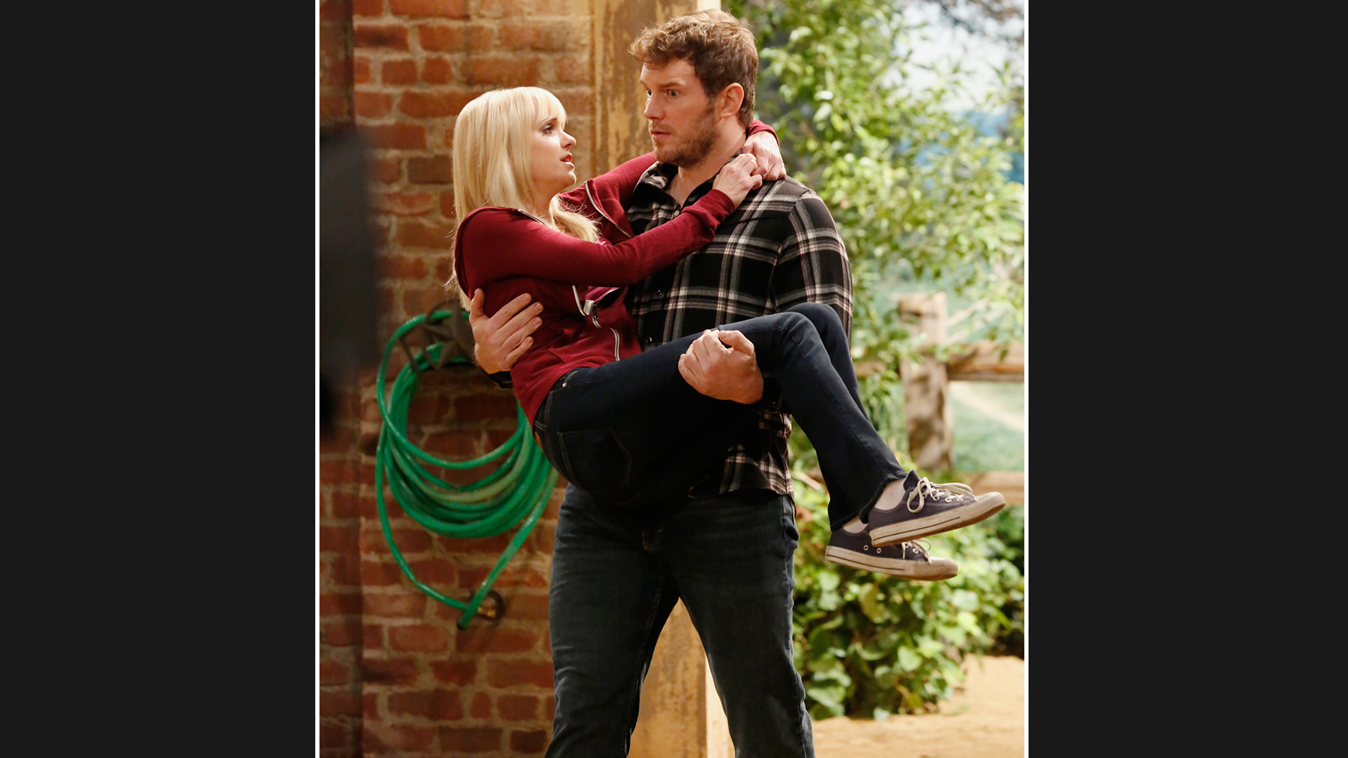 Nick carries Christy back into the stables like a true gentleman.